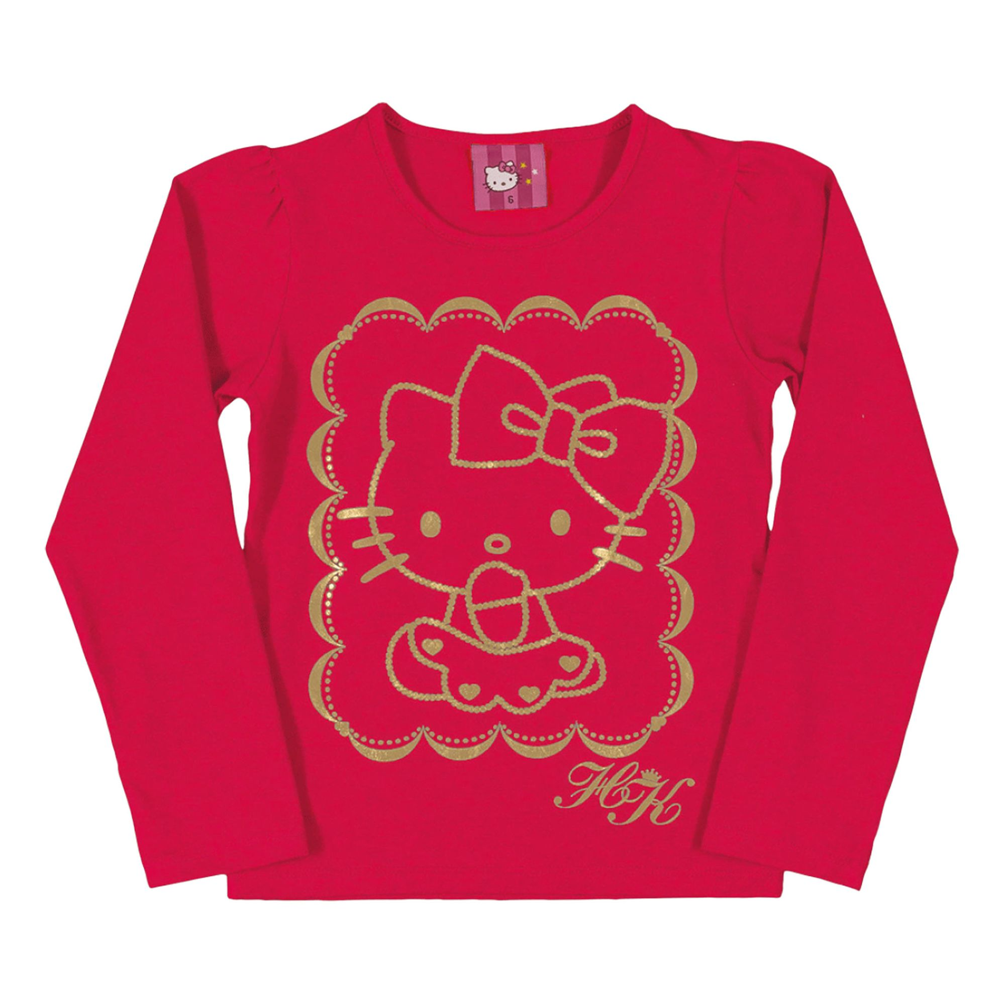 camiseta-infantil-vermelha-hello-kitty-dourada-manga-longa