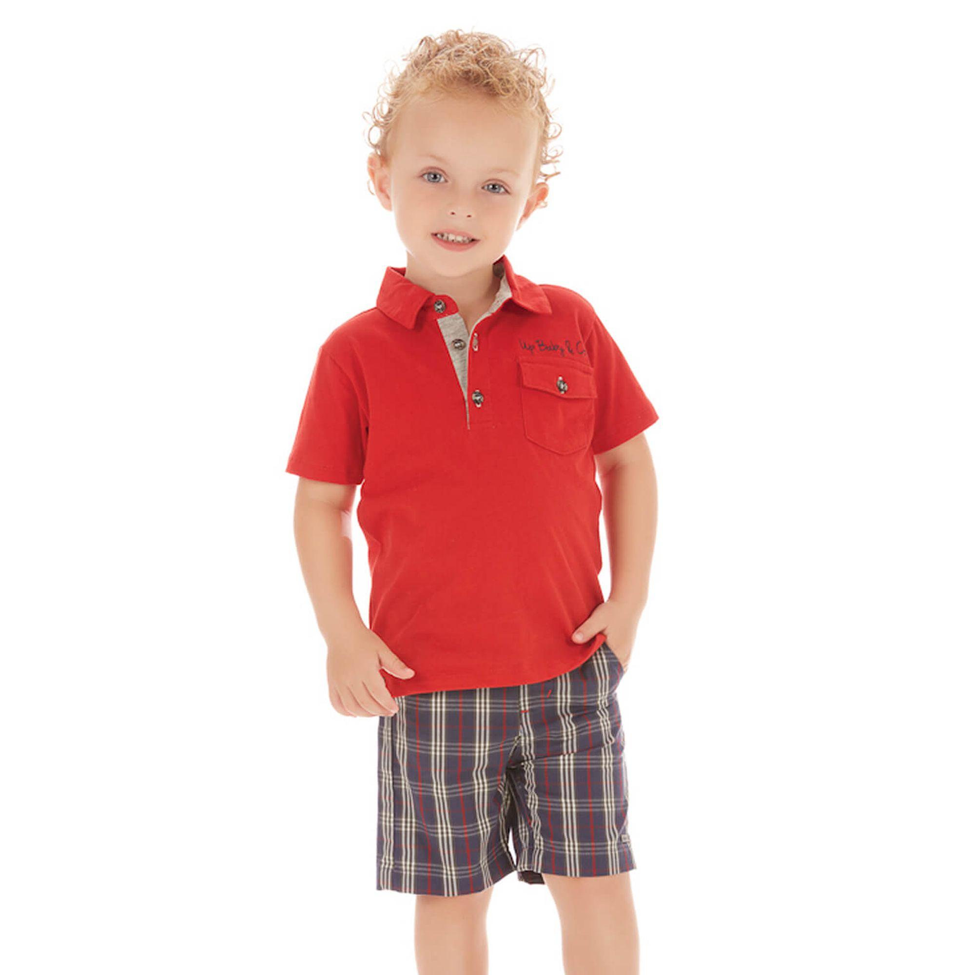 conjunto-menino-polo-vermelha-e-bermuda-xadrez-marinho