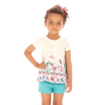conjunto-menina-bata-branca-com-flores-e-short-sarja-turquesa