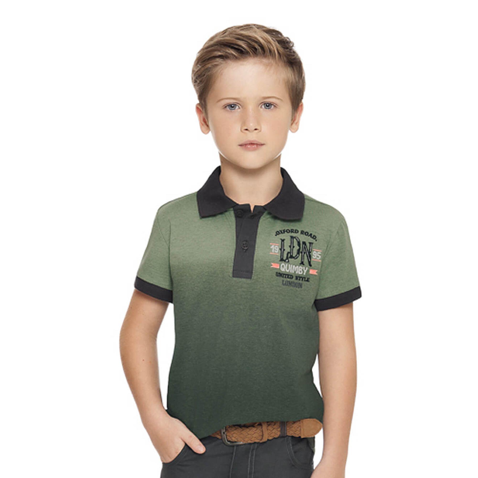Comprar Camiseta Polo Menino em Malha Degradê Verde Manga Curta Quimby -  EcaMeleca 533e50fe6c931