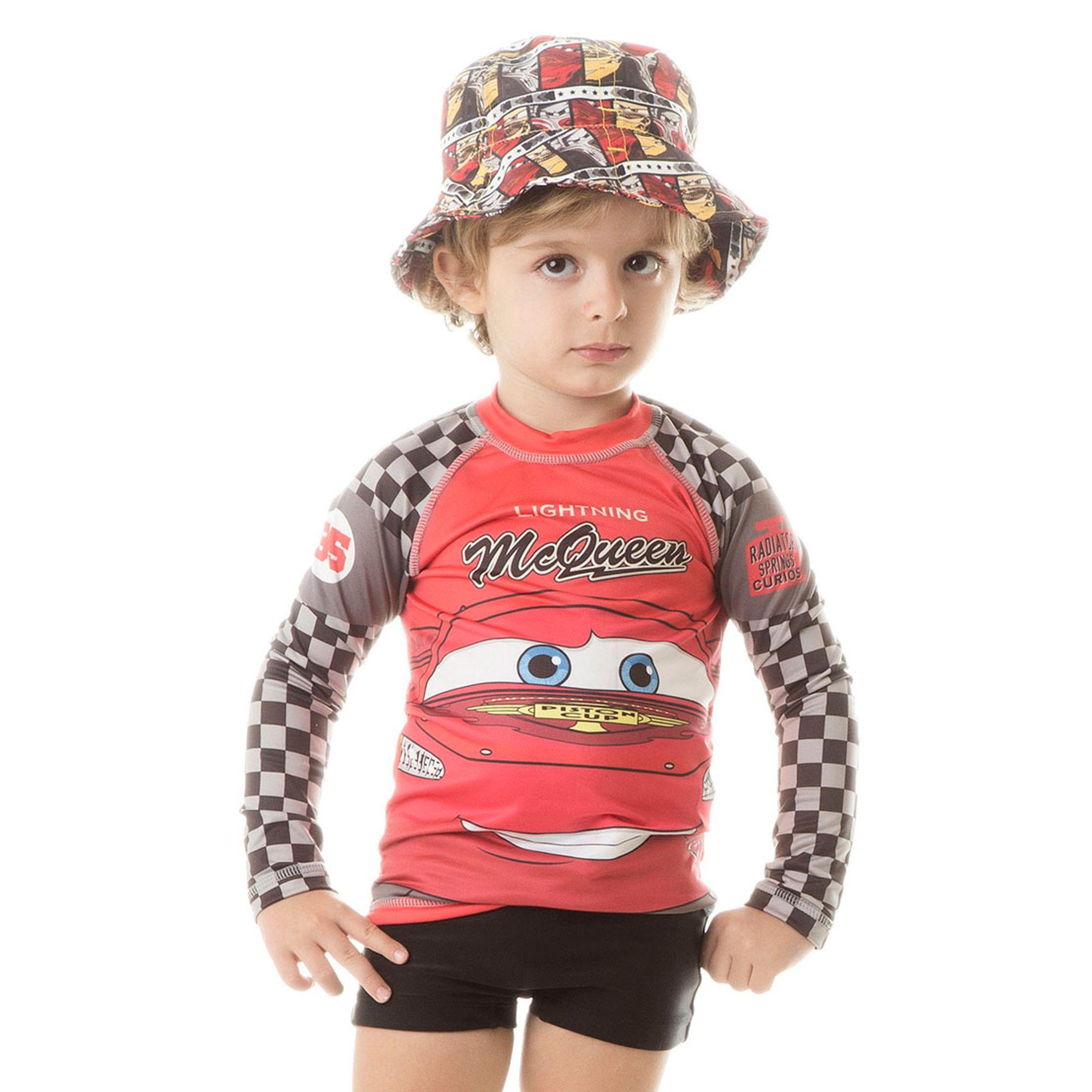 Camiseta Menino Acqua Mcqueen Disney ML com Proteção Solar U.V. Line ... 022643a064b