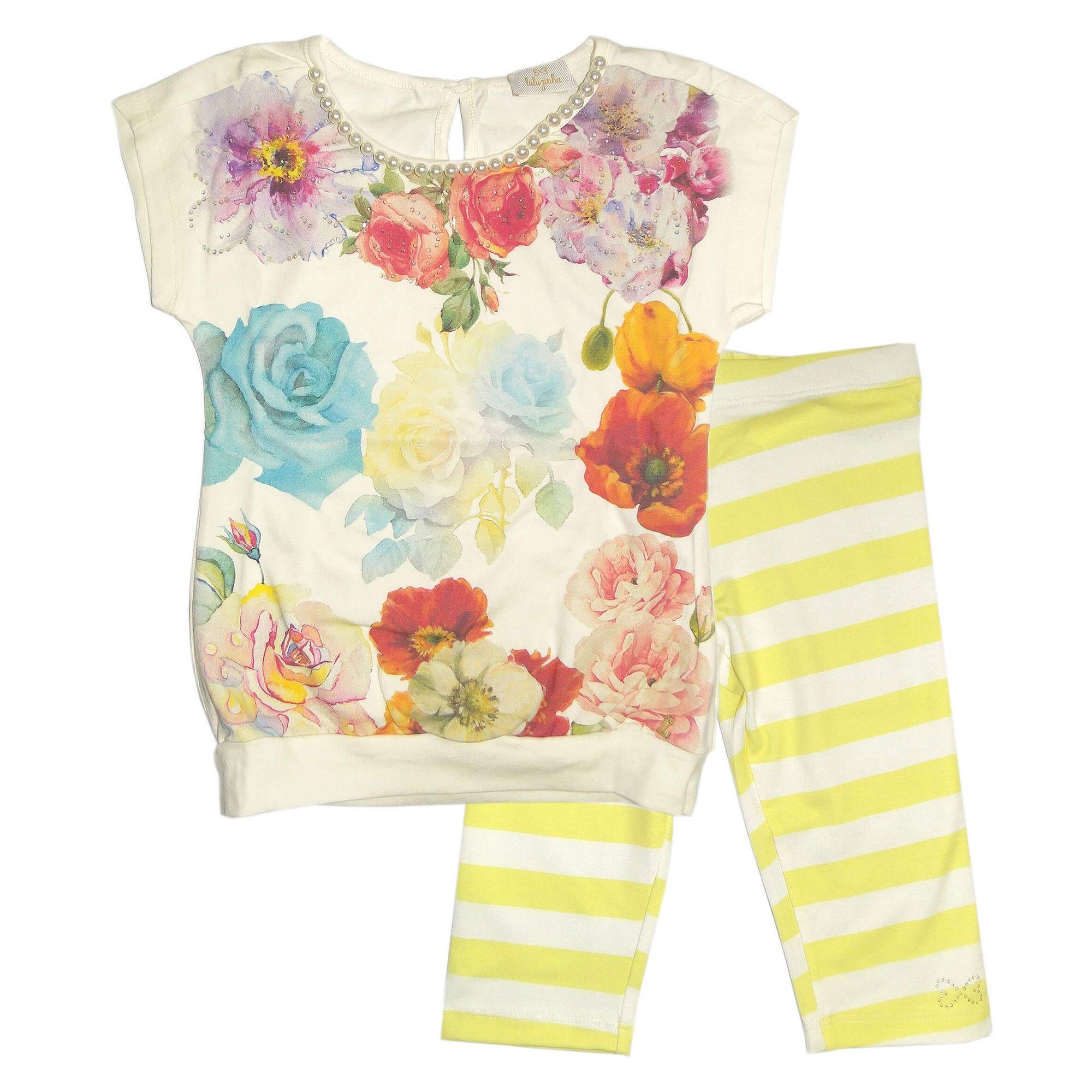 conjunto-menina-blusa-flores-e-perolas-e-capri-listas-amarelas-luluzinha