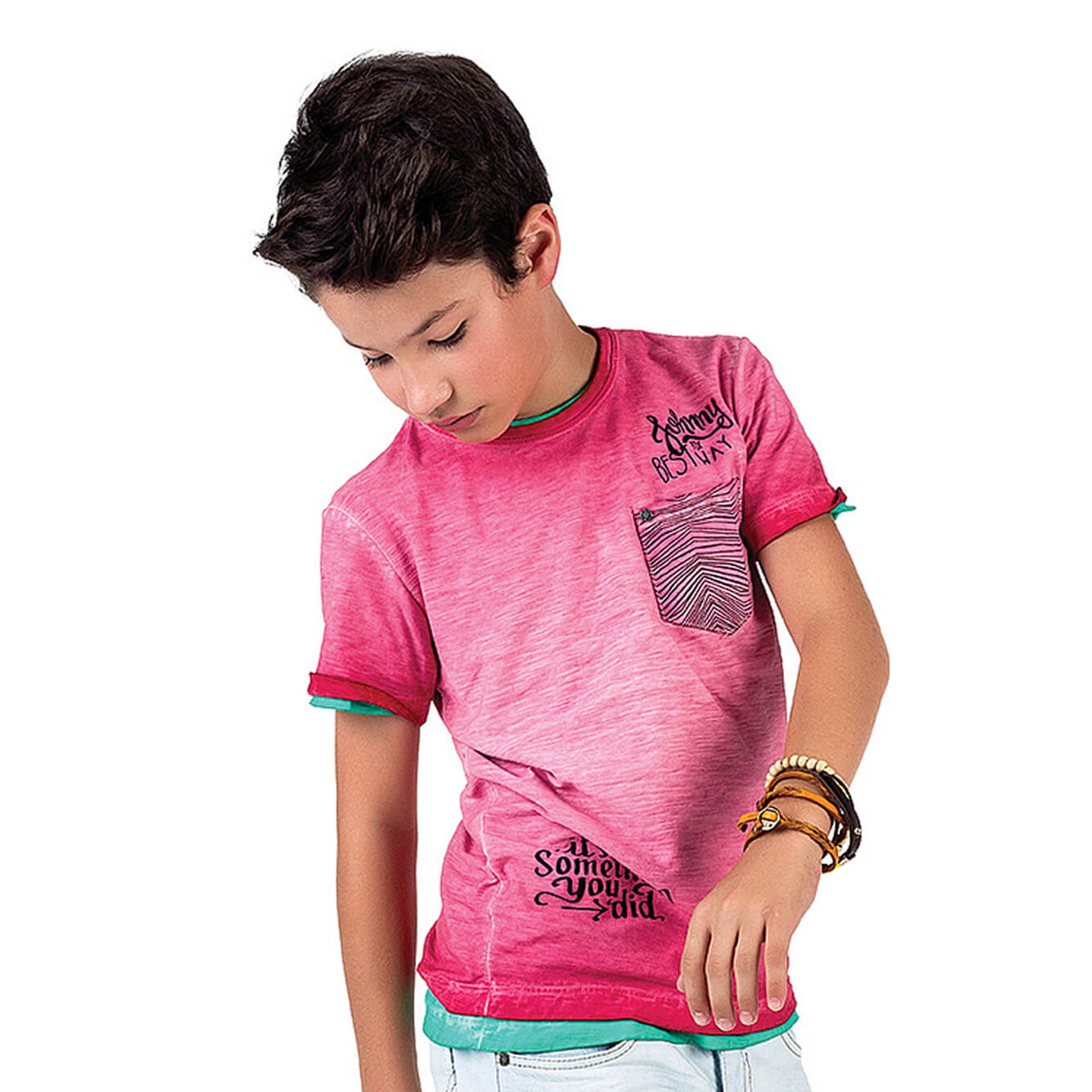Camiseta Menino Malha Flamê Estonada Carmim com Bolso Johnny Fox EcaMeleca f5dafd3dfdd