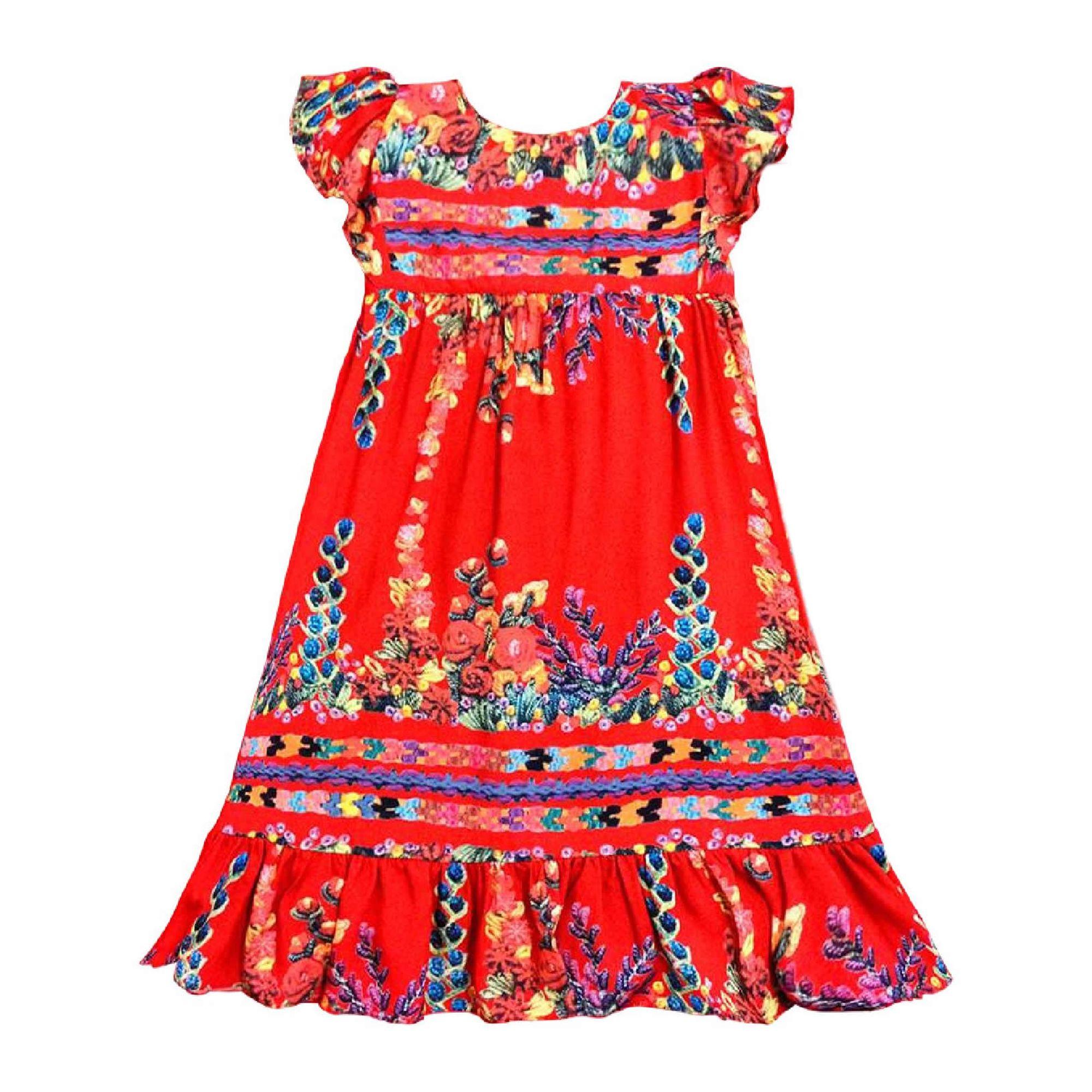 Favoritos Vestido Infantil Vermelho Estampado e Ajuste Alças - Té Roupa de  QY43