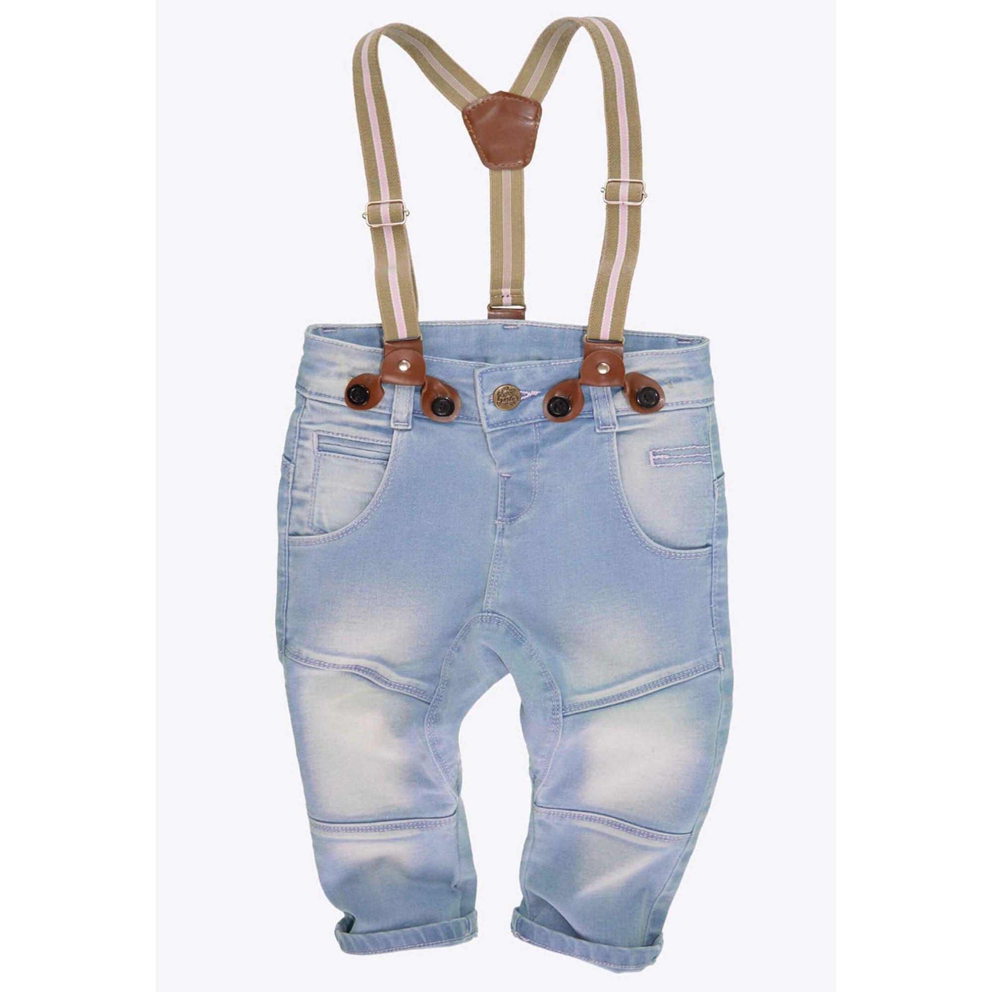 Calça infantil menina jeans saruel com suspensório e costura rosa cool  girlz ecameleca jpg 2000x2000 Bermuda 2e4bfc2157c