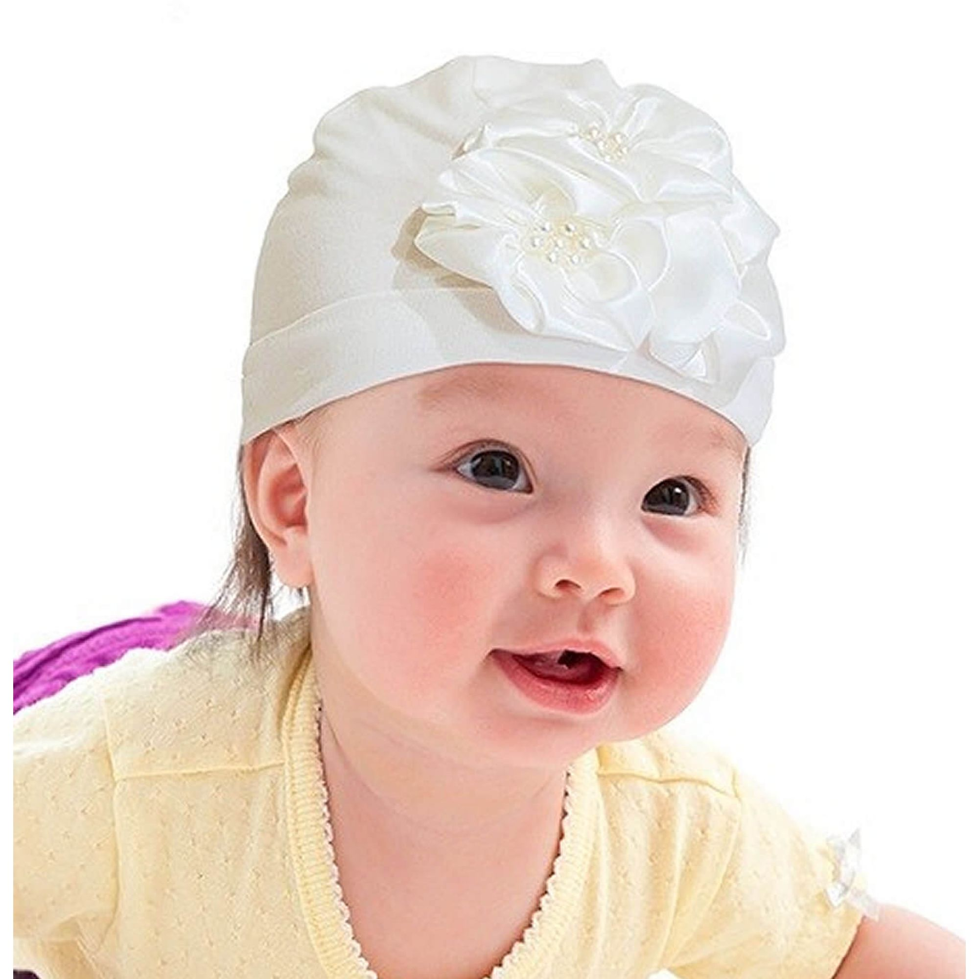 touca-bebe-cotton-com-flores-marfim-ziptoys