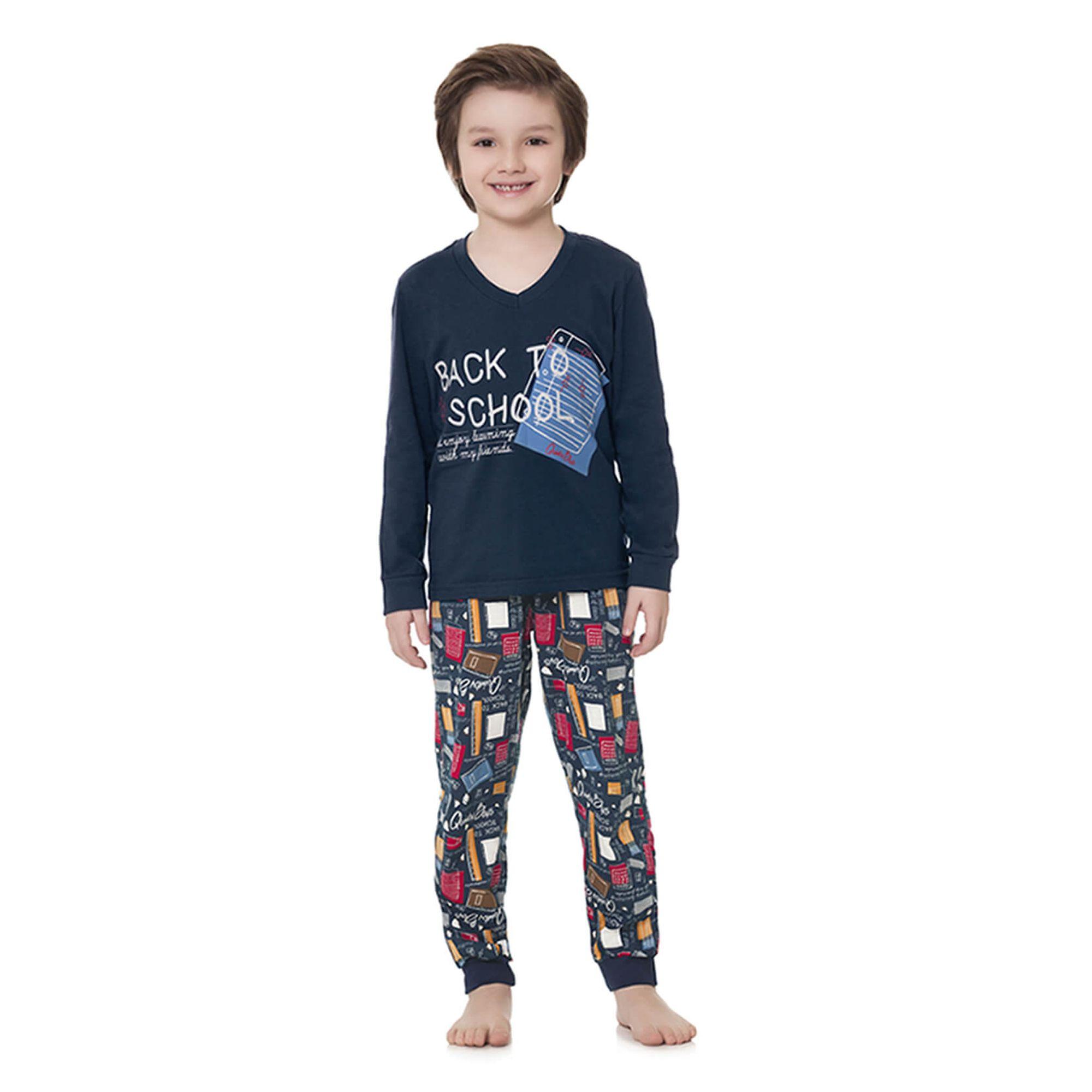 63767bd77 Pijama Infantil Manga Longa Marinho Back To School - Quimby - EcaMeleca