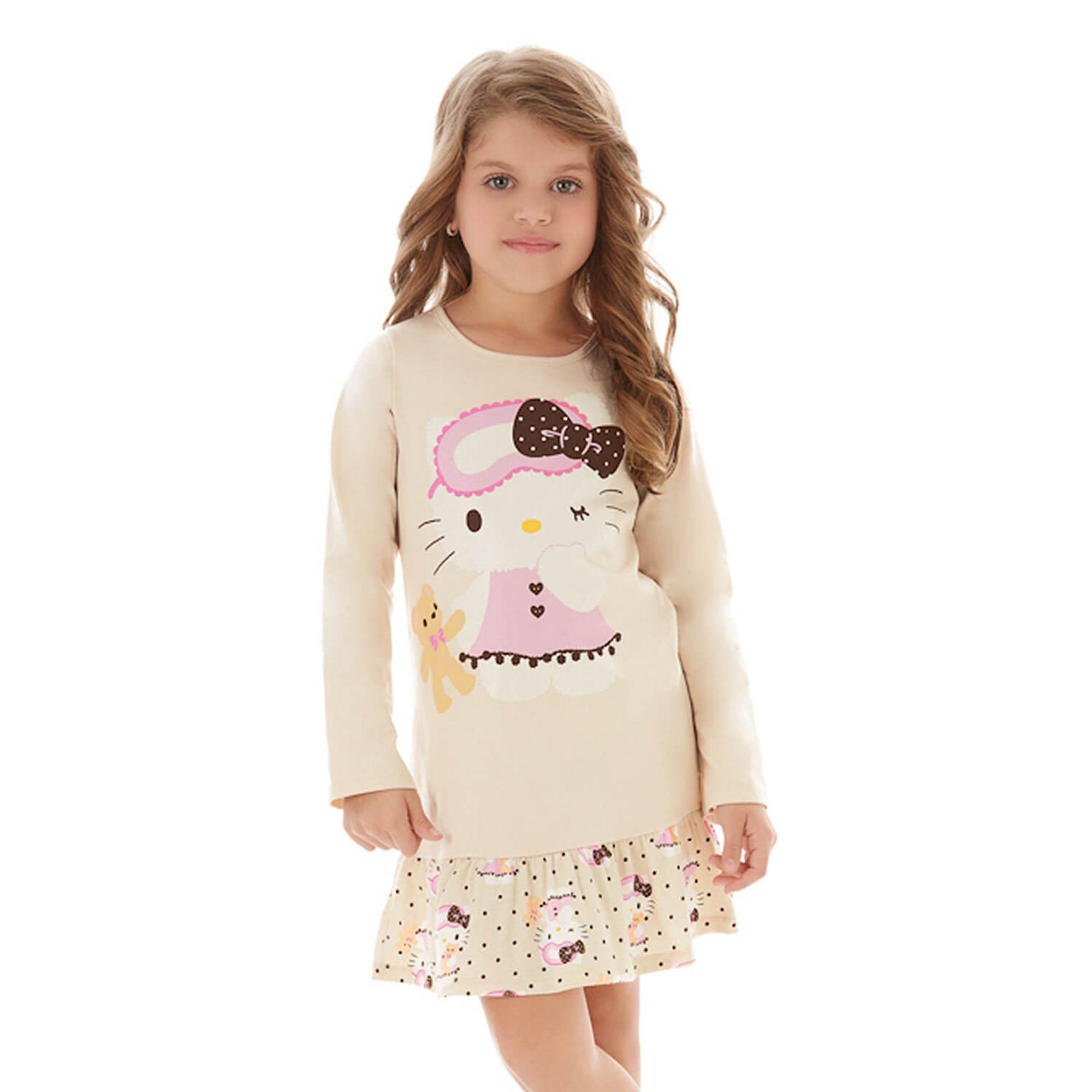 c7eacac2e Camisola Infantil Manga Longa Hello Kitty com Ursinho Bege - EcaMeleca