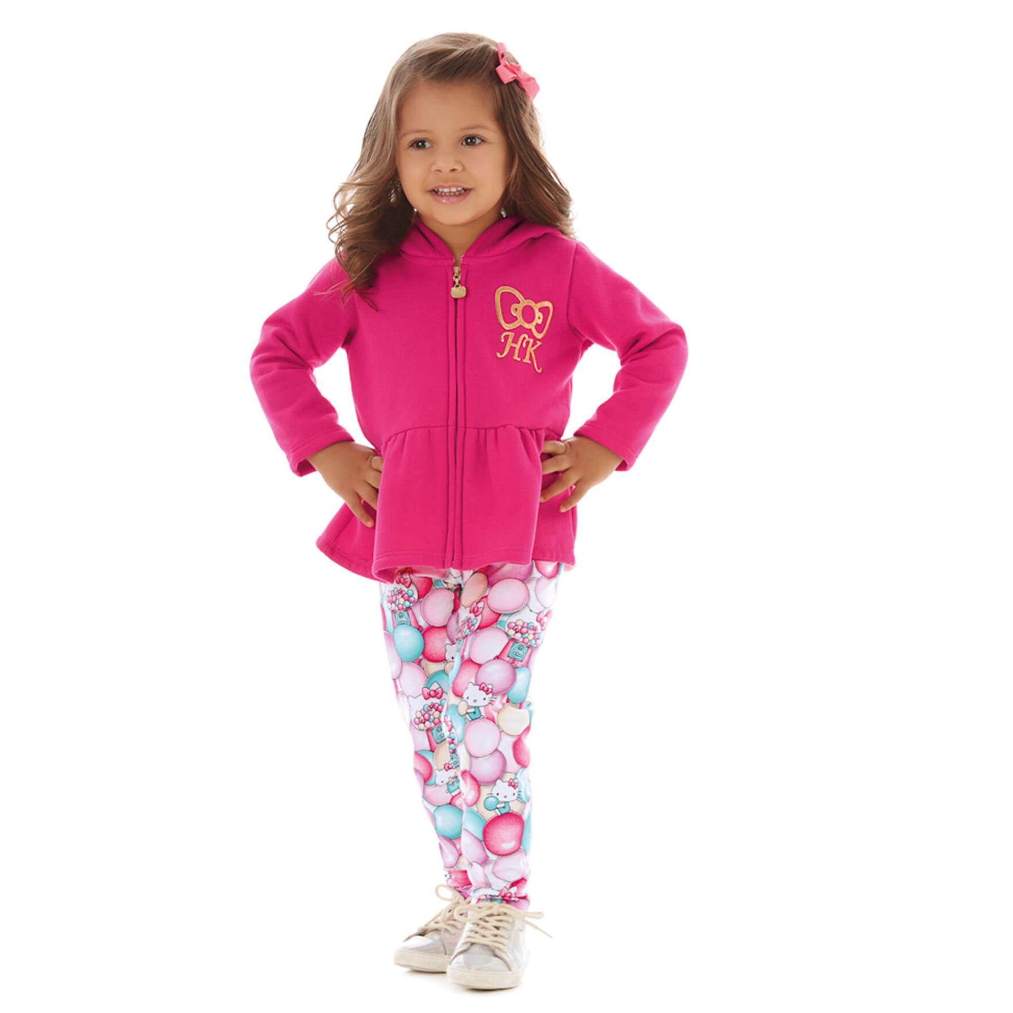 ae95297390 Jaqueta Moletom Menina Pink c  Legging Estampada Hello Kitty - EcaMeleca