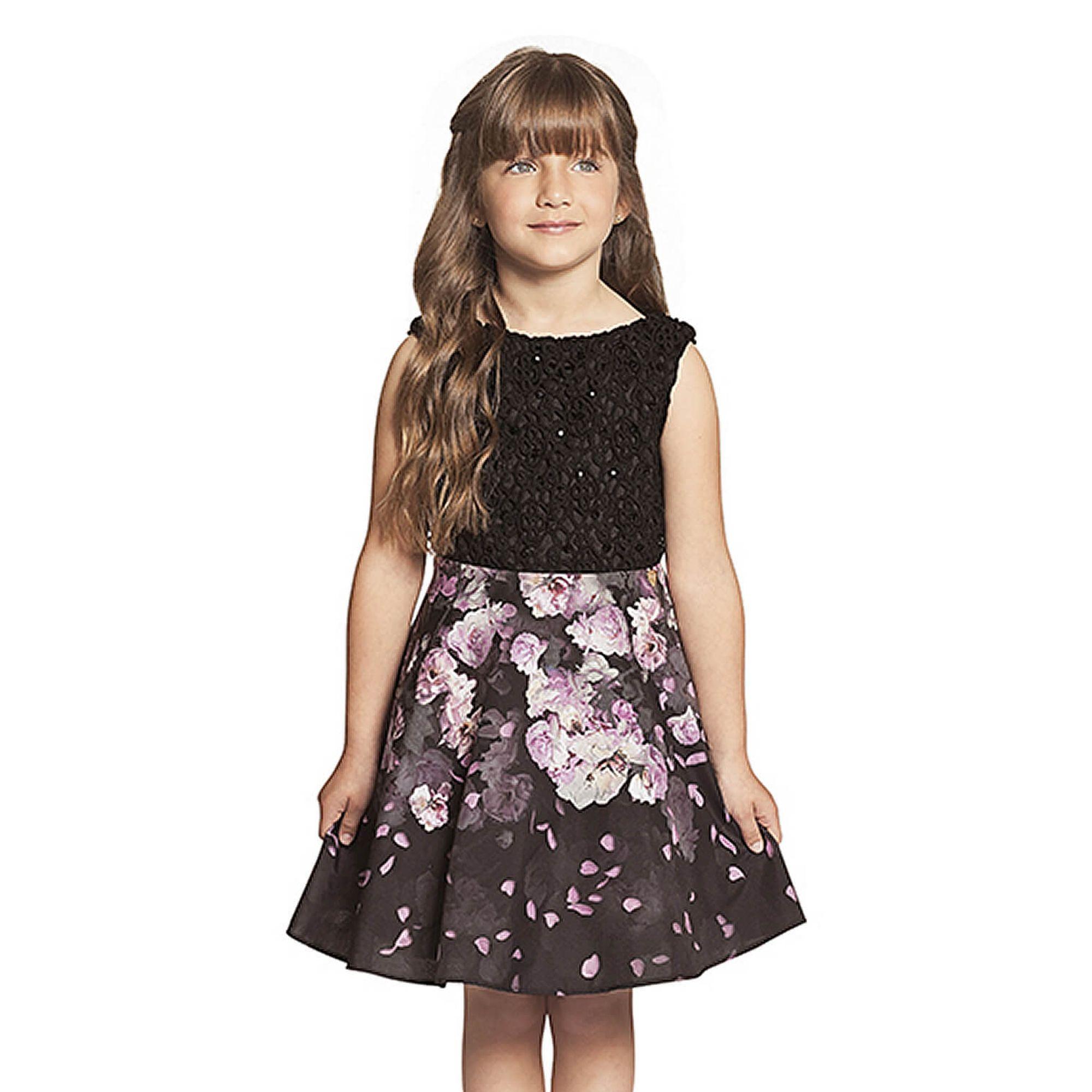 02894dfaf2 Vestido Infantil Renda Preta e Saia Rodada Flores Guipir - Ninali