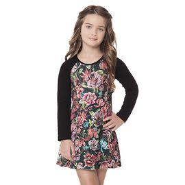 vestido-infantil-neoprene-preto-com-flores-coloridas-quimby