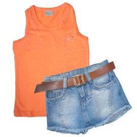 conjunto-menina-regata-coral-e-short-saia-jeans-cinto