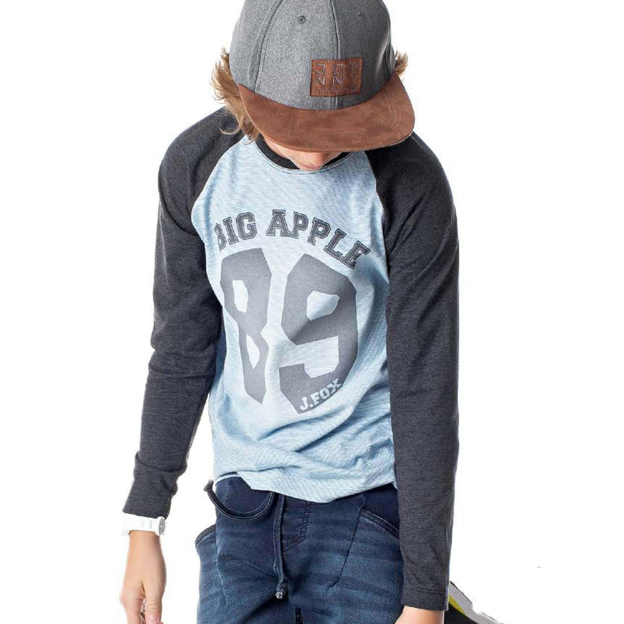 Camiseta Infantil Menino Manga Longa Big Apple - Johnny Fox - EcaMeleca 0c236951556