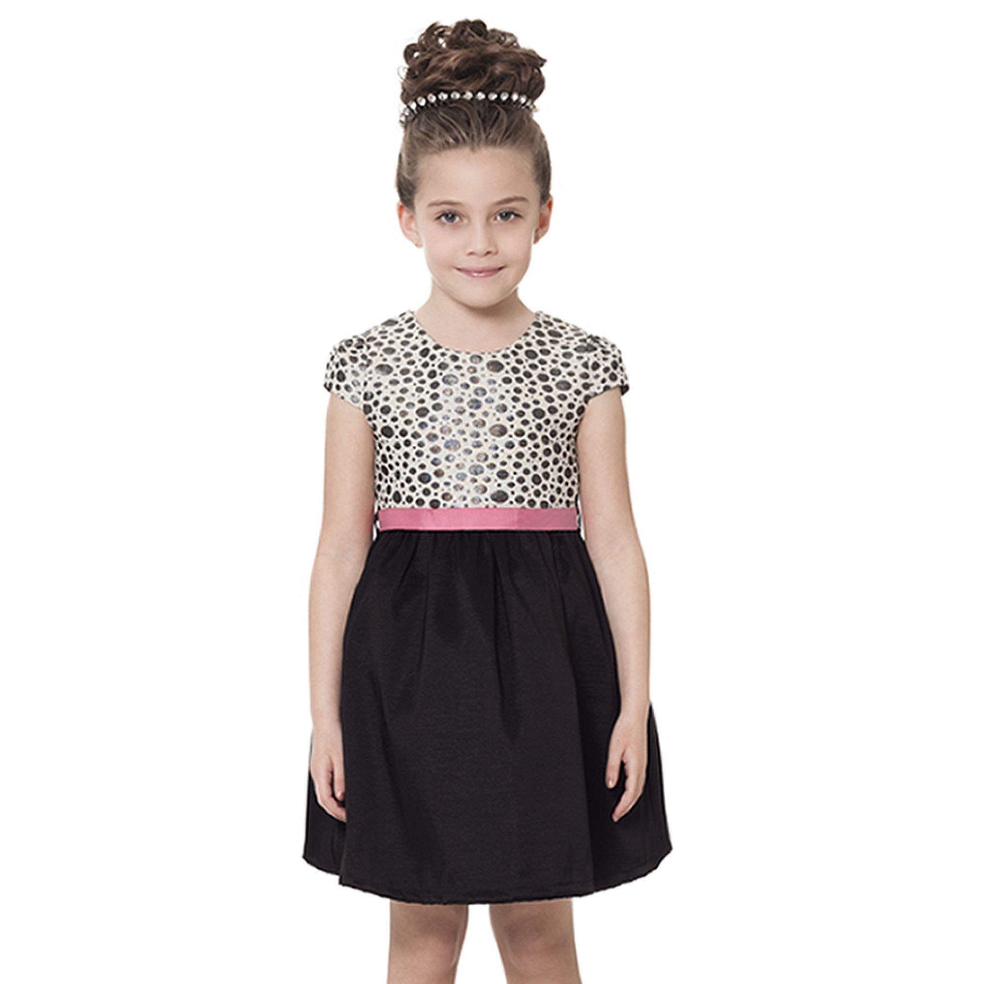 bd0fead990 Vestido Infantil para Festa em Jacquard e Tafetá com Bolinhas Pratas -  Quimby