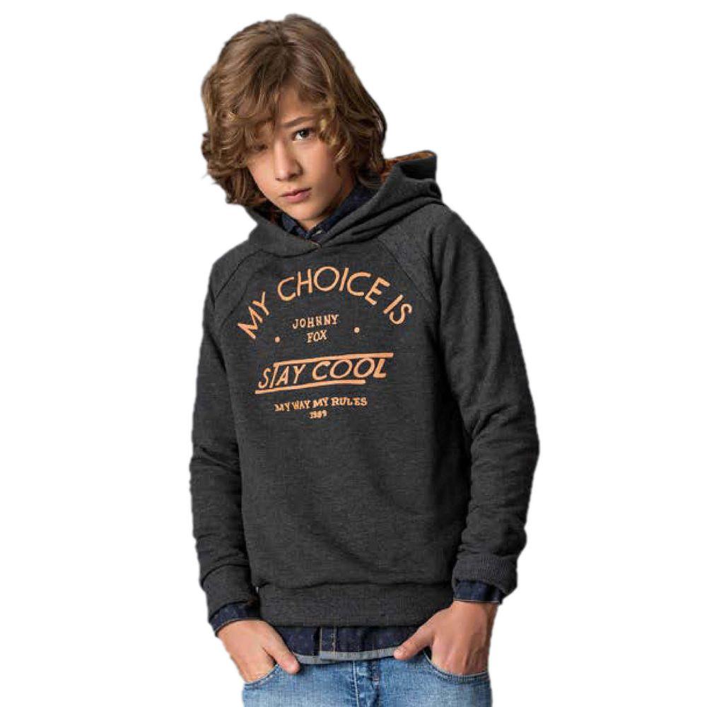 Blusão Infantil em Moletom c Pelúcia Grafite c  Gorro - Johnny Fox ... 676383d48bc