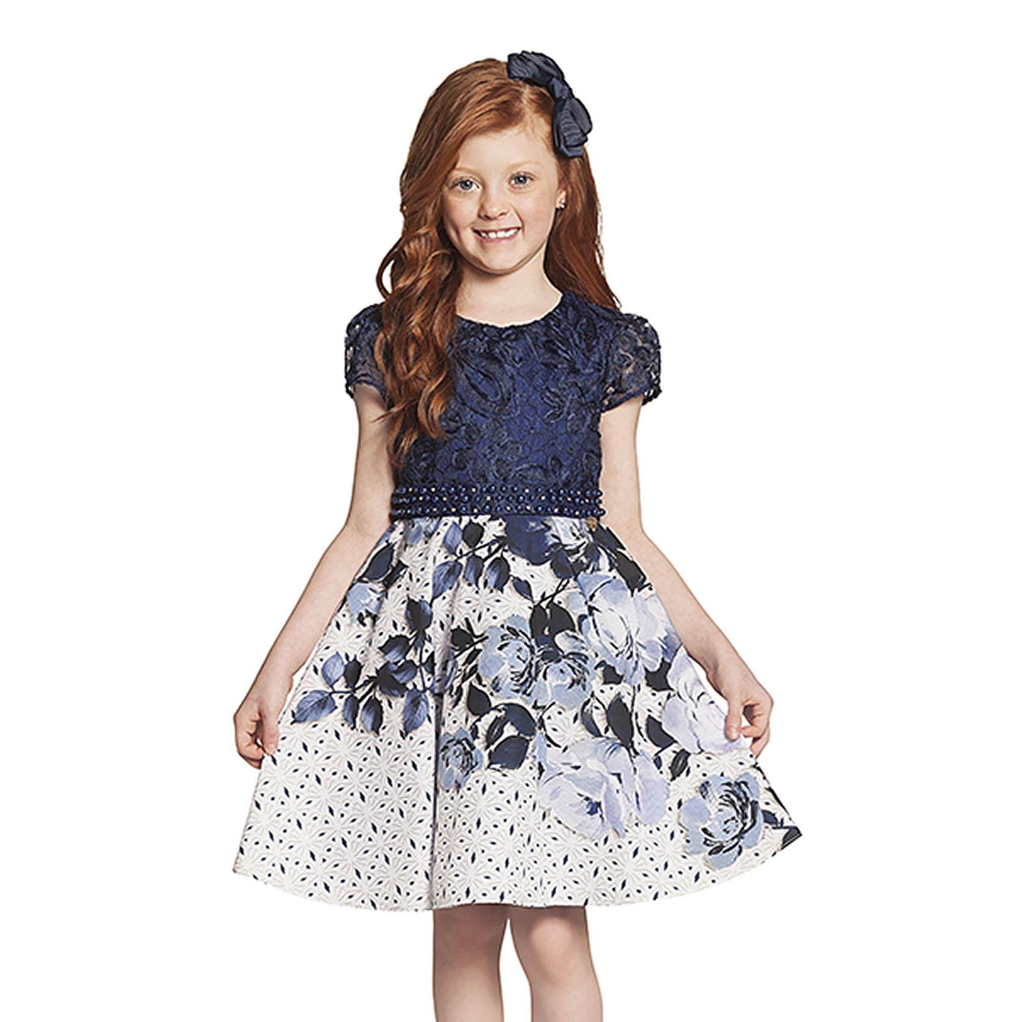 e81b94e905 Vestido Infantil Festa Renda Azul Marinho e Saia Flores - Ninali