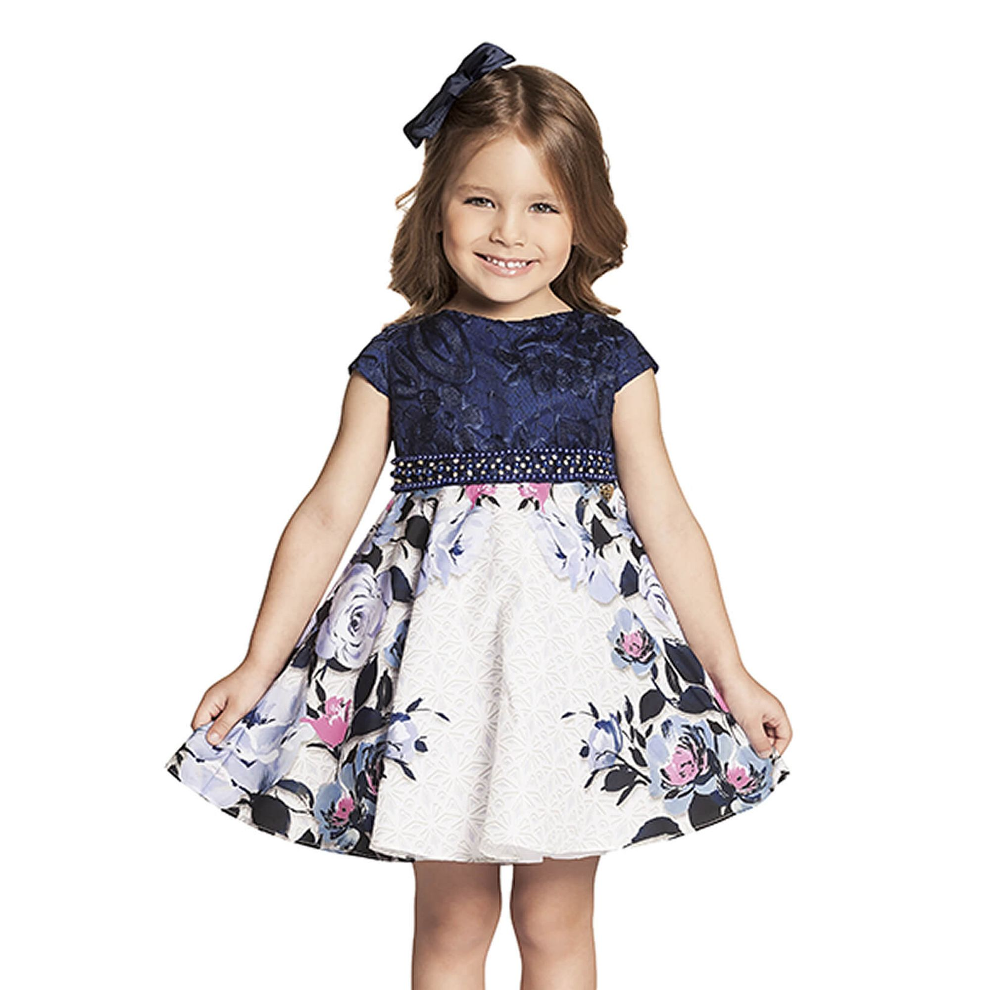 5260d7b769 Vestido Infantil Festa Renda Azul Marinho e Saia Flores Azul e Rosa - Ninali  - EcaMeleca