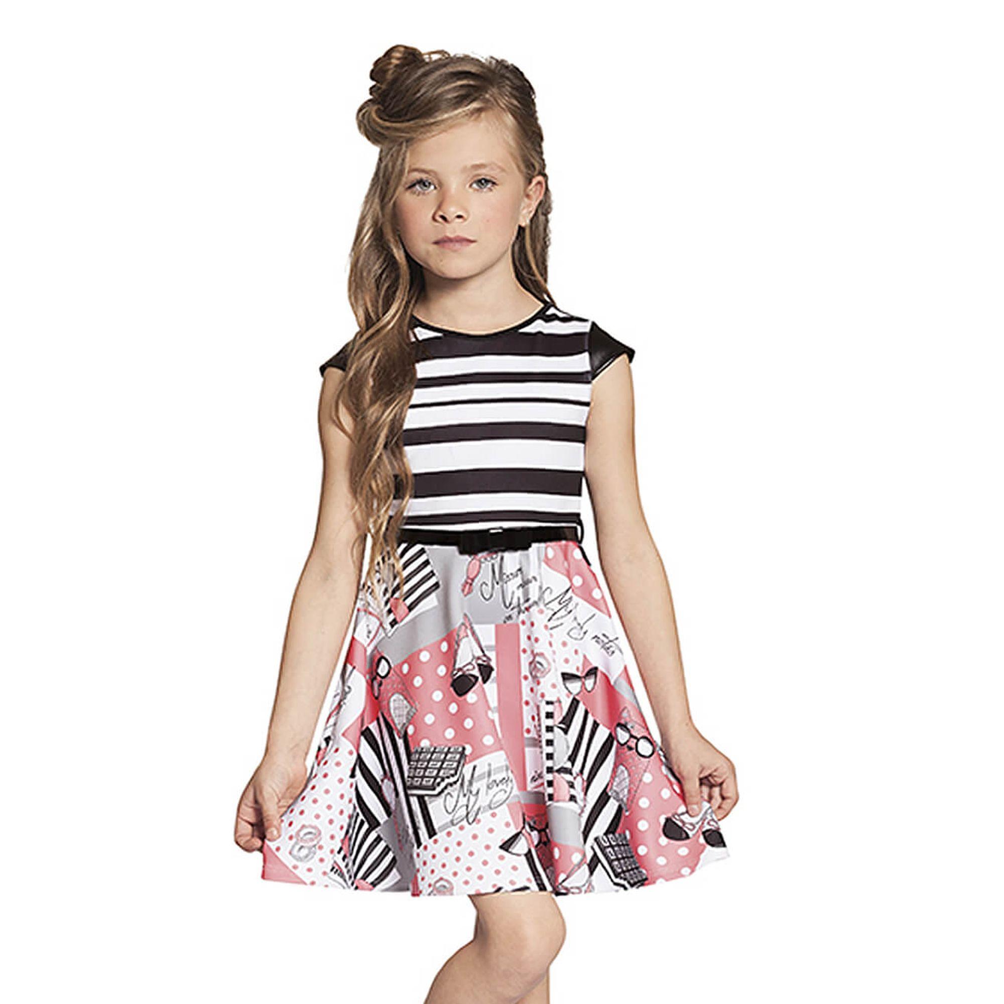 4325805568dc Vestido Infantil Neoprene Listras Black & White e Saia Rodada Estampada  Ninali
