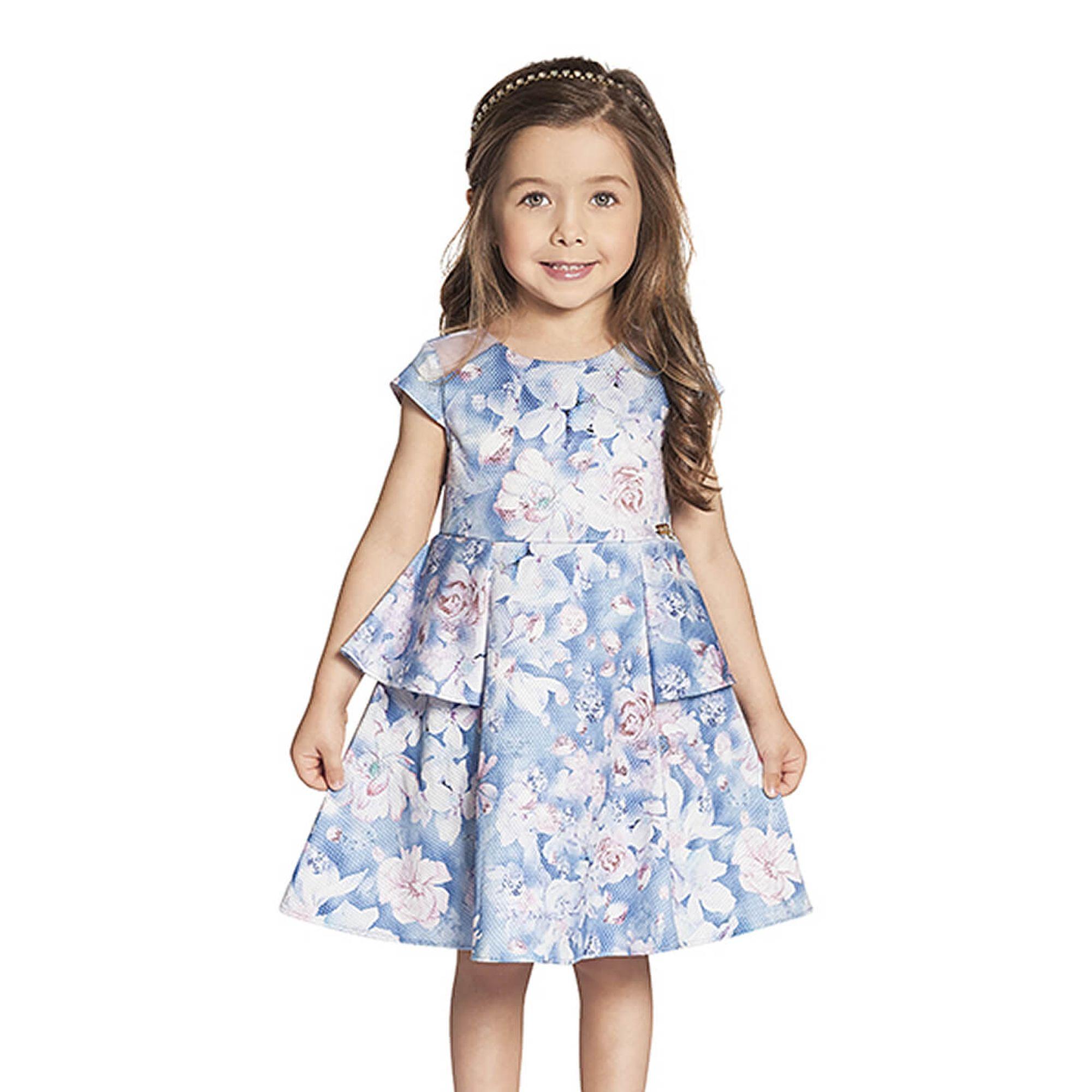 760d631d4790 Vestido Infantil Meia Manga Estampa Flores Azul Claro e Rosa - Ninali