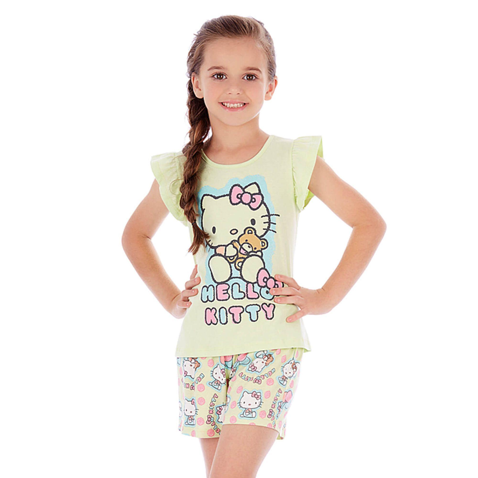 pijama-curto-menina-hello-kitty-citrico-manga-babado