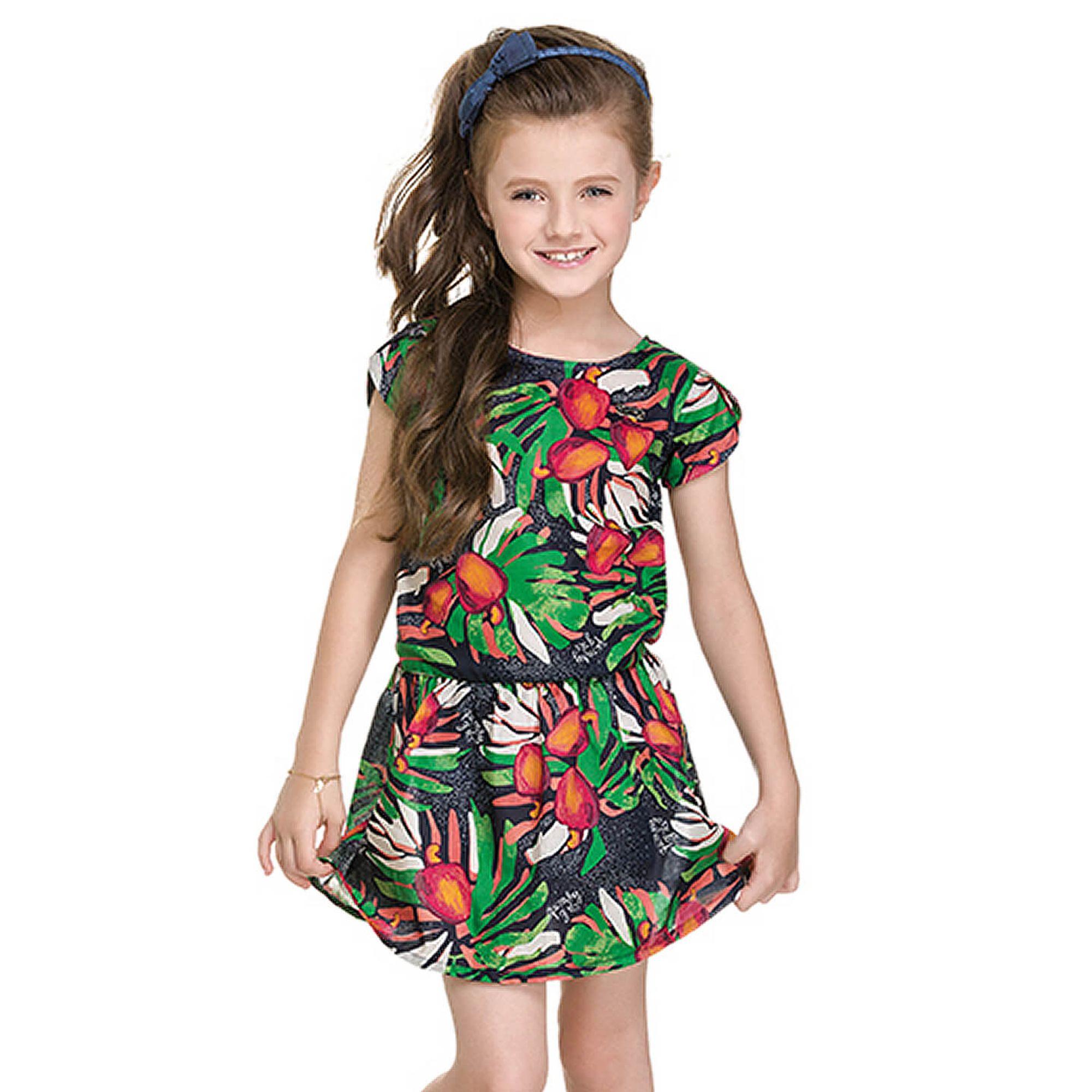 Populares Vestido Infantil Viscose Estampado Azul Marinho e Verde Quimby  JY12