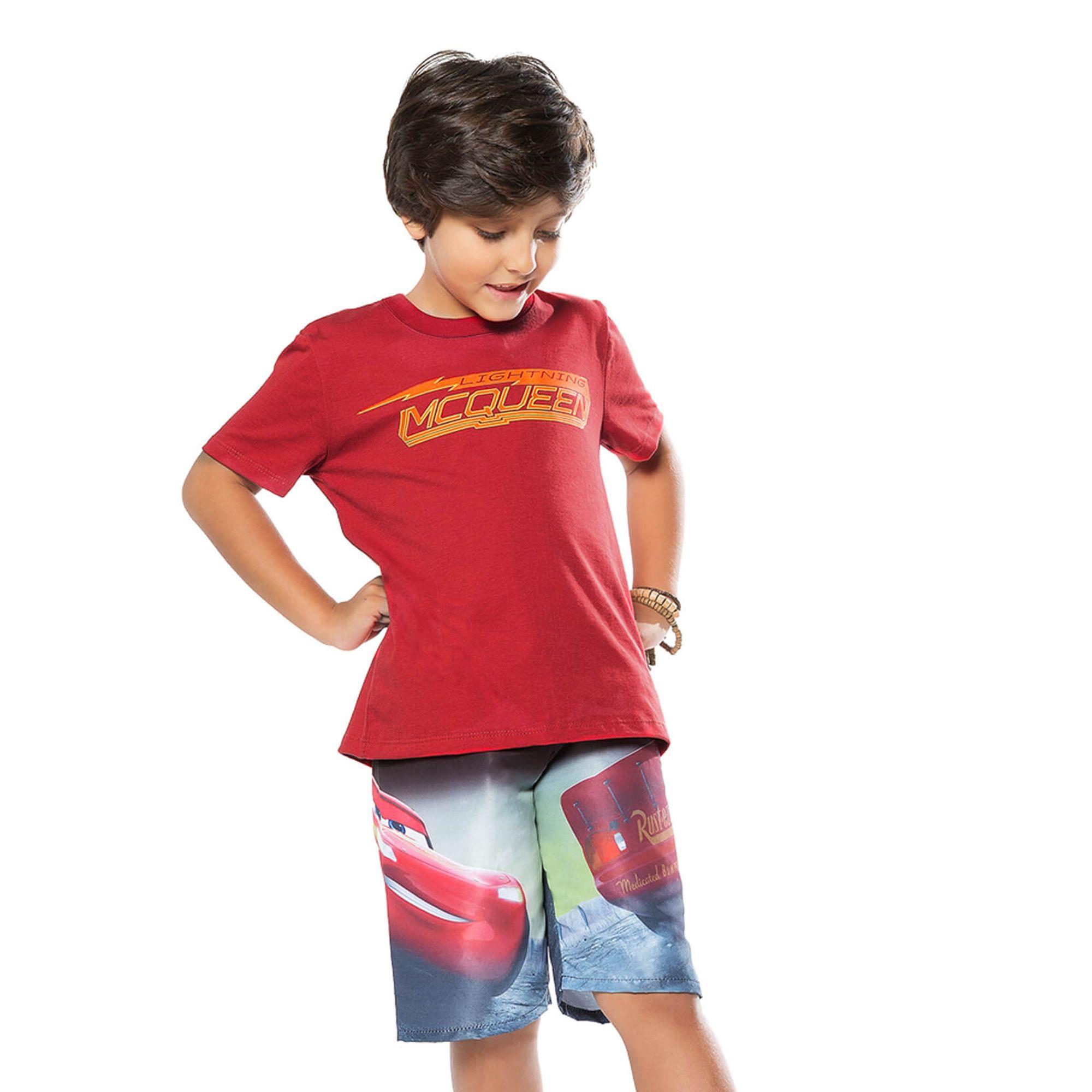 Conjunto Menino Camiseta McQueen Carros e Bermuda Microfibra - Cativa -  EcaMeleca c2fcd6365c57d