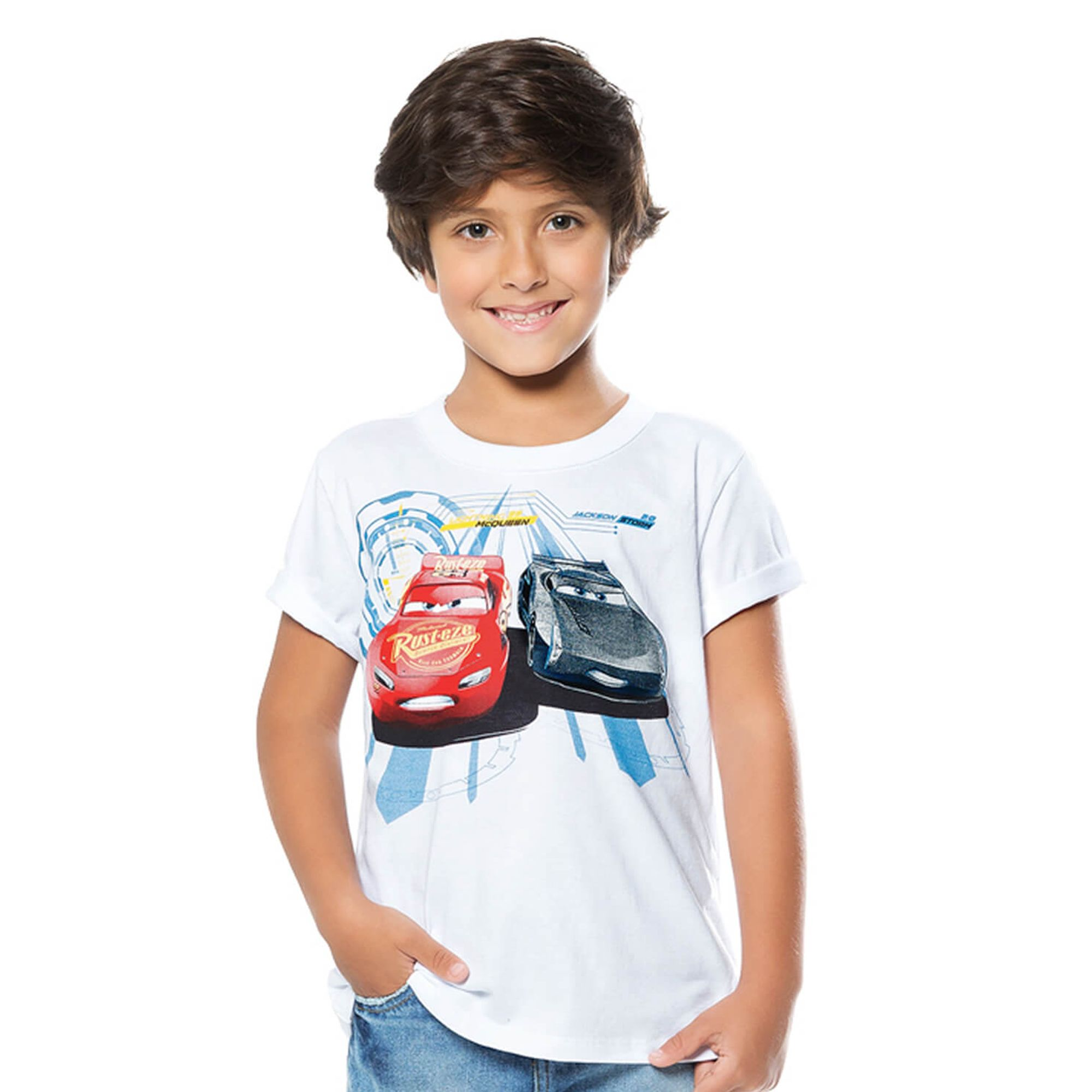 3583b1dd4 Camiseta Infantil Branca Carros Disney - Cativa - EcaMeleca