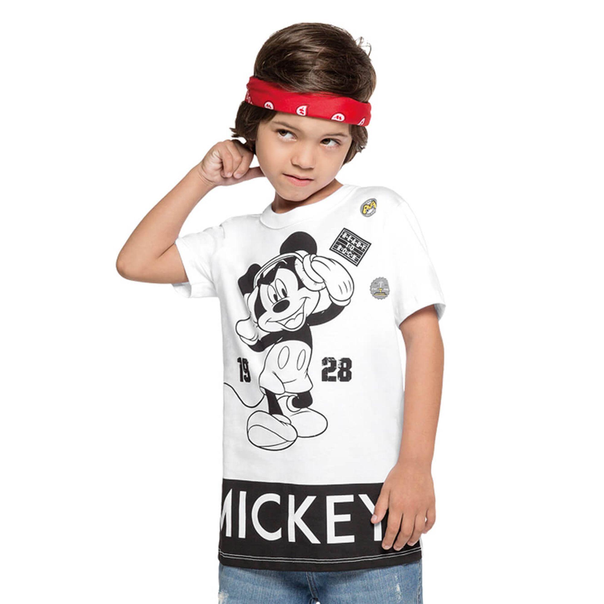 8055b05d92 Camiseta Infantil Mickey Disney Branca e Preta - Cativa - EcaMeleca