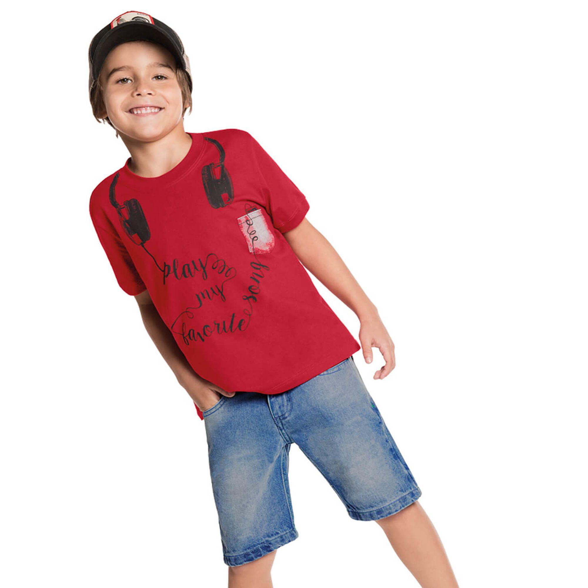 Conjunto Menino Camiseta Vermelha Headphones e Bermuda Jeans - Cativa -  EcaMeleca 15775fe9db32e