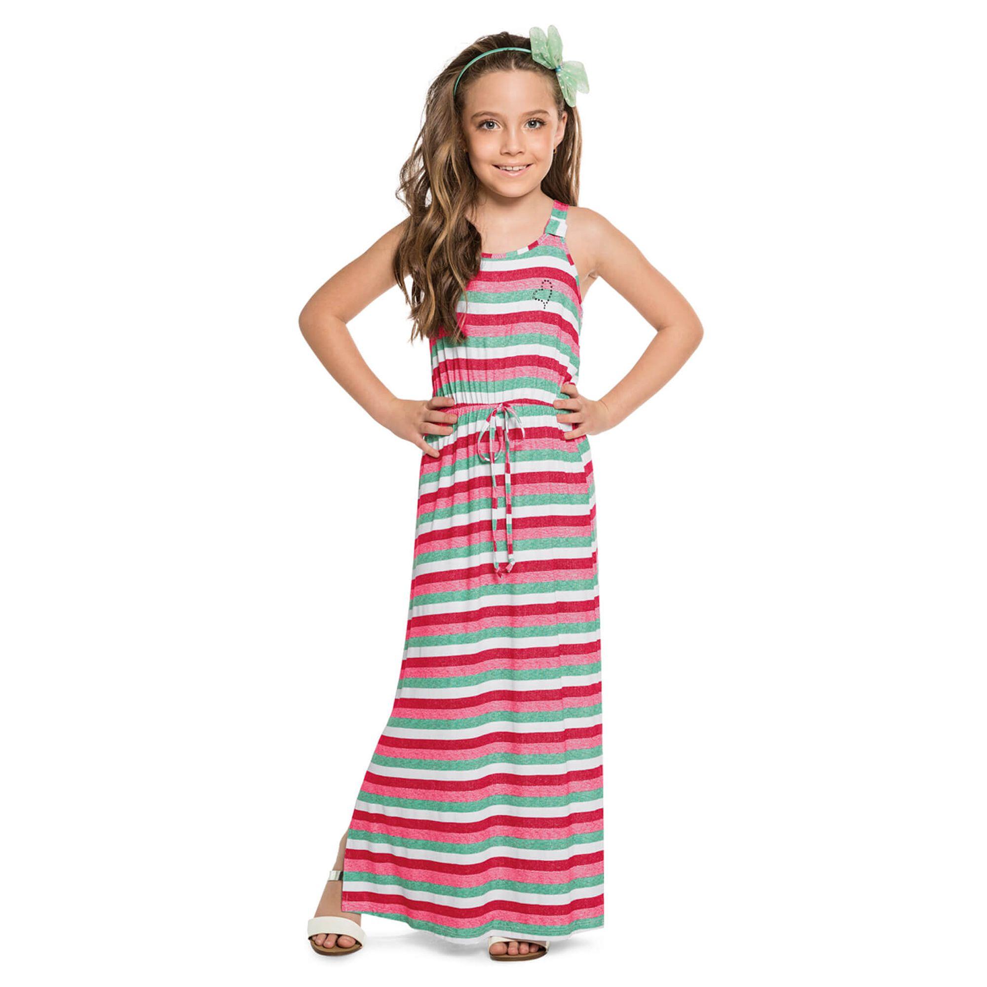 Conhecido Vestido Infantil Longo Listrado em Viscose - Cativa - EcaMeleca ZL62