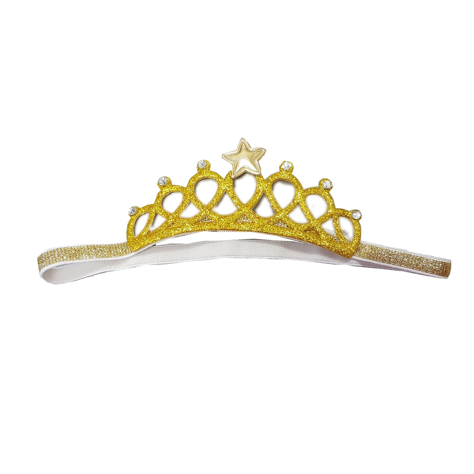 Coroa-princesa-para-cabelo-de-bebe-crianca-Dourada-em-elastico-Lacos-da-Sorte-loja-EcaMeleca-Kids-