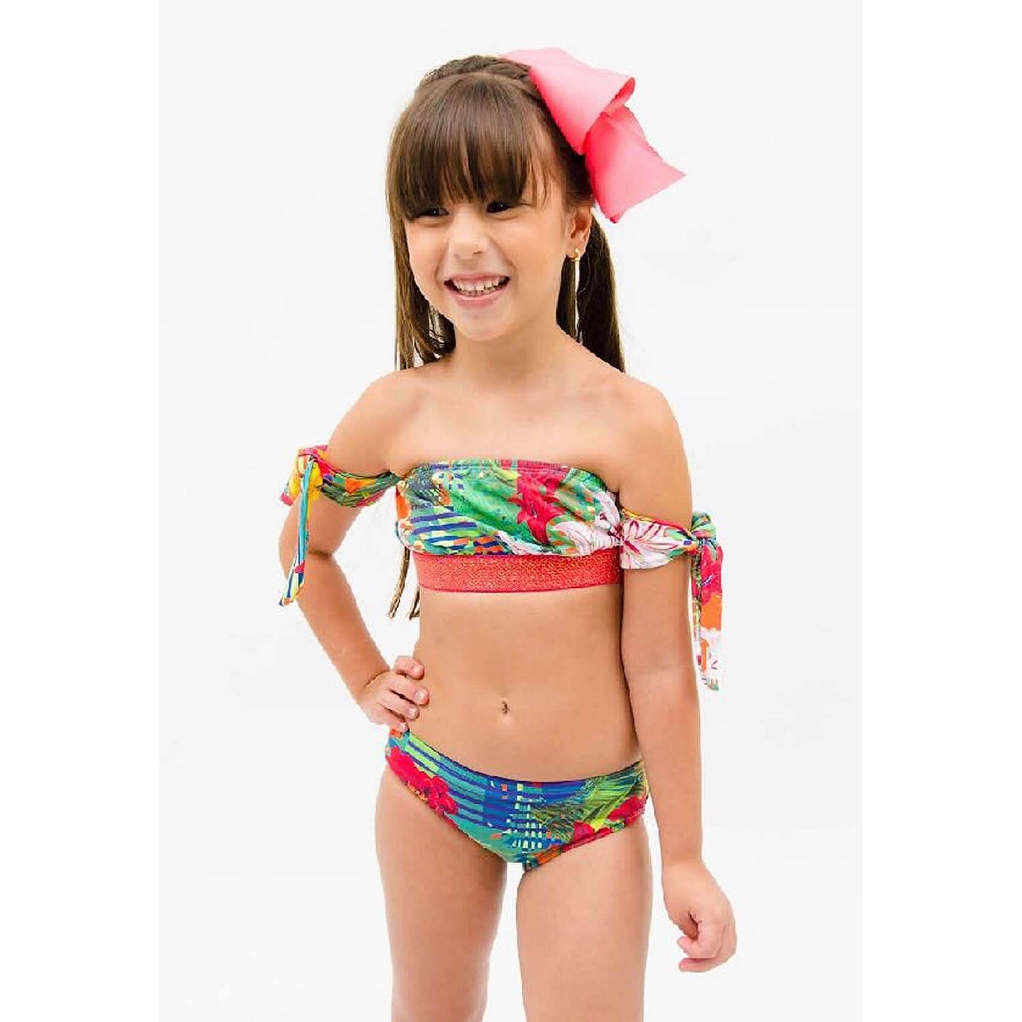 368856a69e1b06 Moda Praia Infantil Biquíni Florido Top com Amarra Braços Água de ...