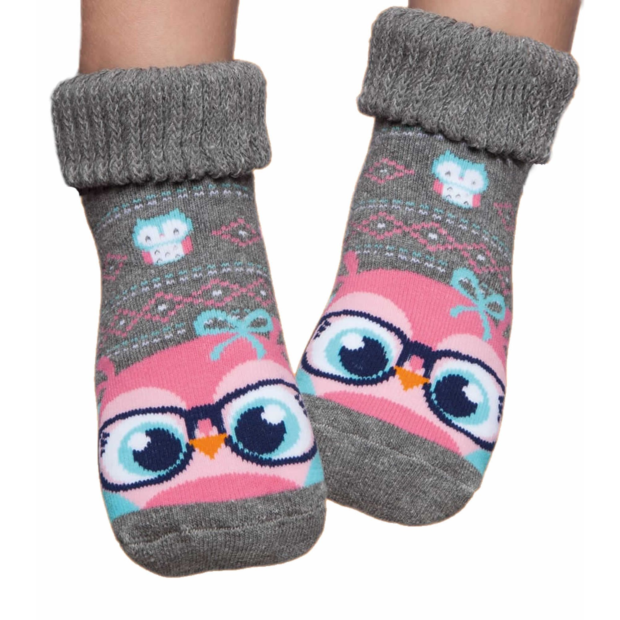 meia-infantil-botinha-cinza-corujinha-rosa-puket