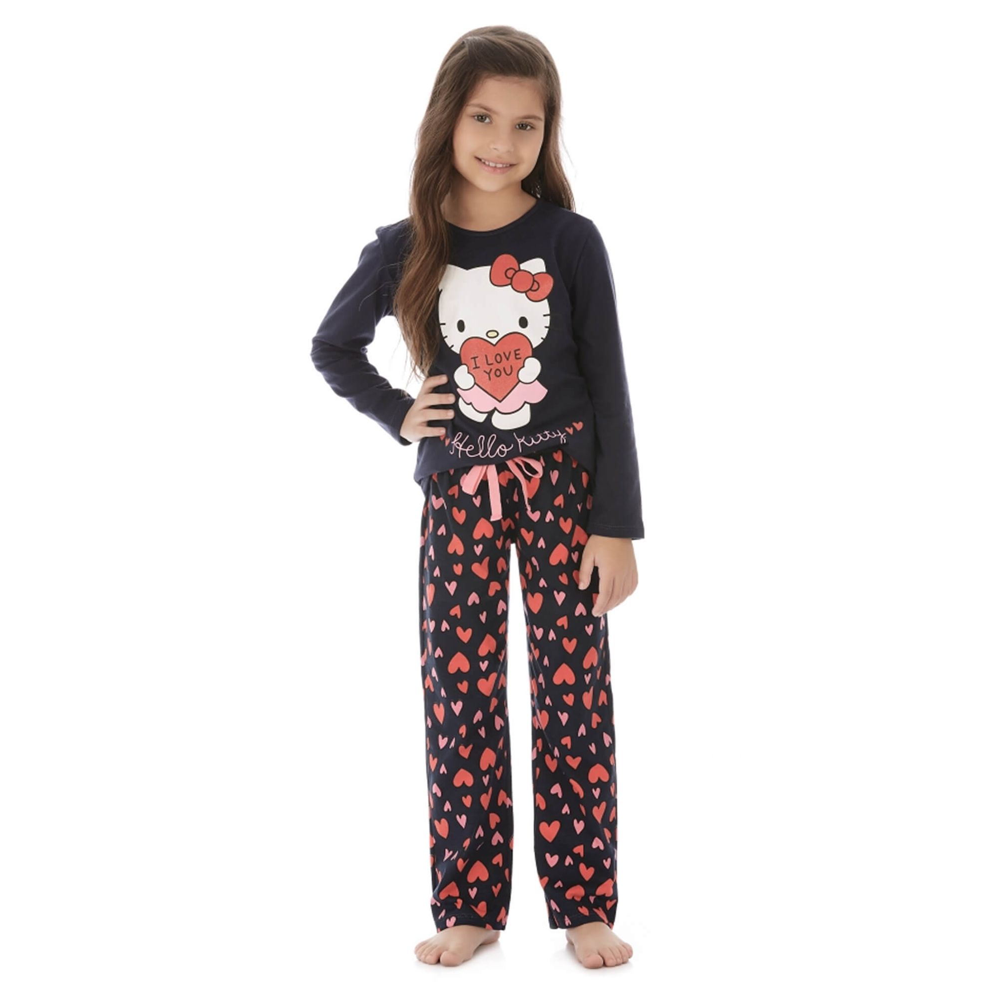 87419b738 Pijama Infantil Manga Longa Azul Marinho I Love Hello Kitty - EcaMeleca