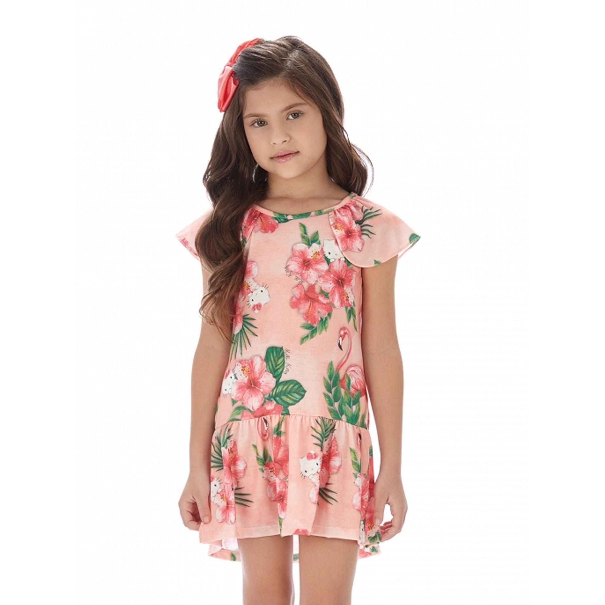 vestido-infantil-verao-hello-kitty-floral-pessego