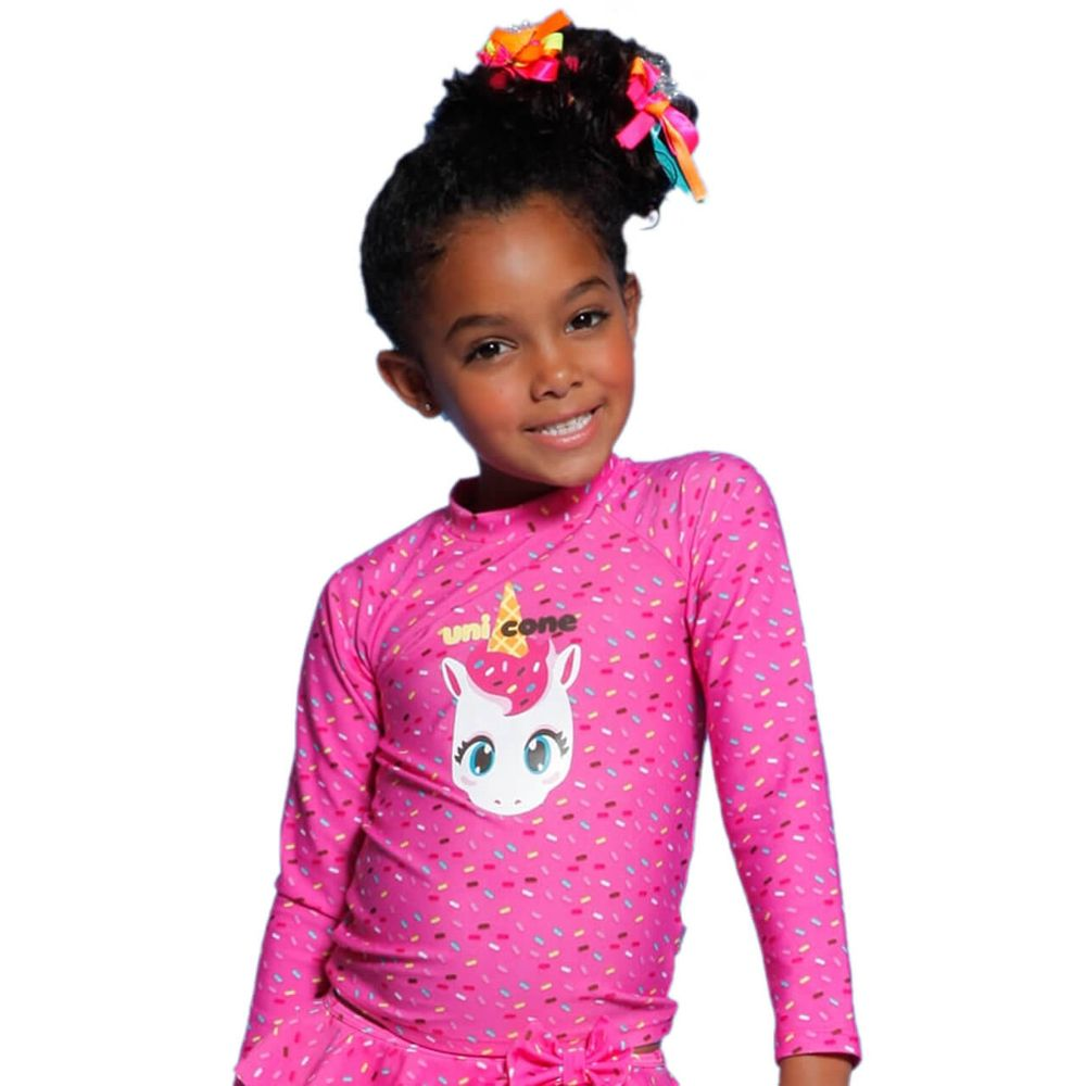 Camiseta Infantil Unicórnio Rosa Chiclete ML com Proteção Solar Puket 65f8ef07de4
