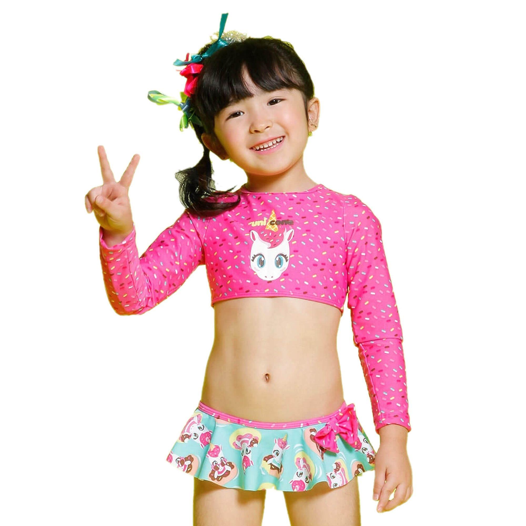 8bf750c4e28677 Biquíni Cropped Infantil Unicórnio Rosa Chiclete Puket - EcaMeleca