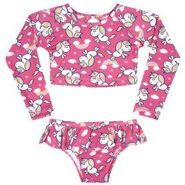 biquini-infantil-cropped-rosa-unicornios-e-arco-iris-tip-top-frente