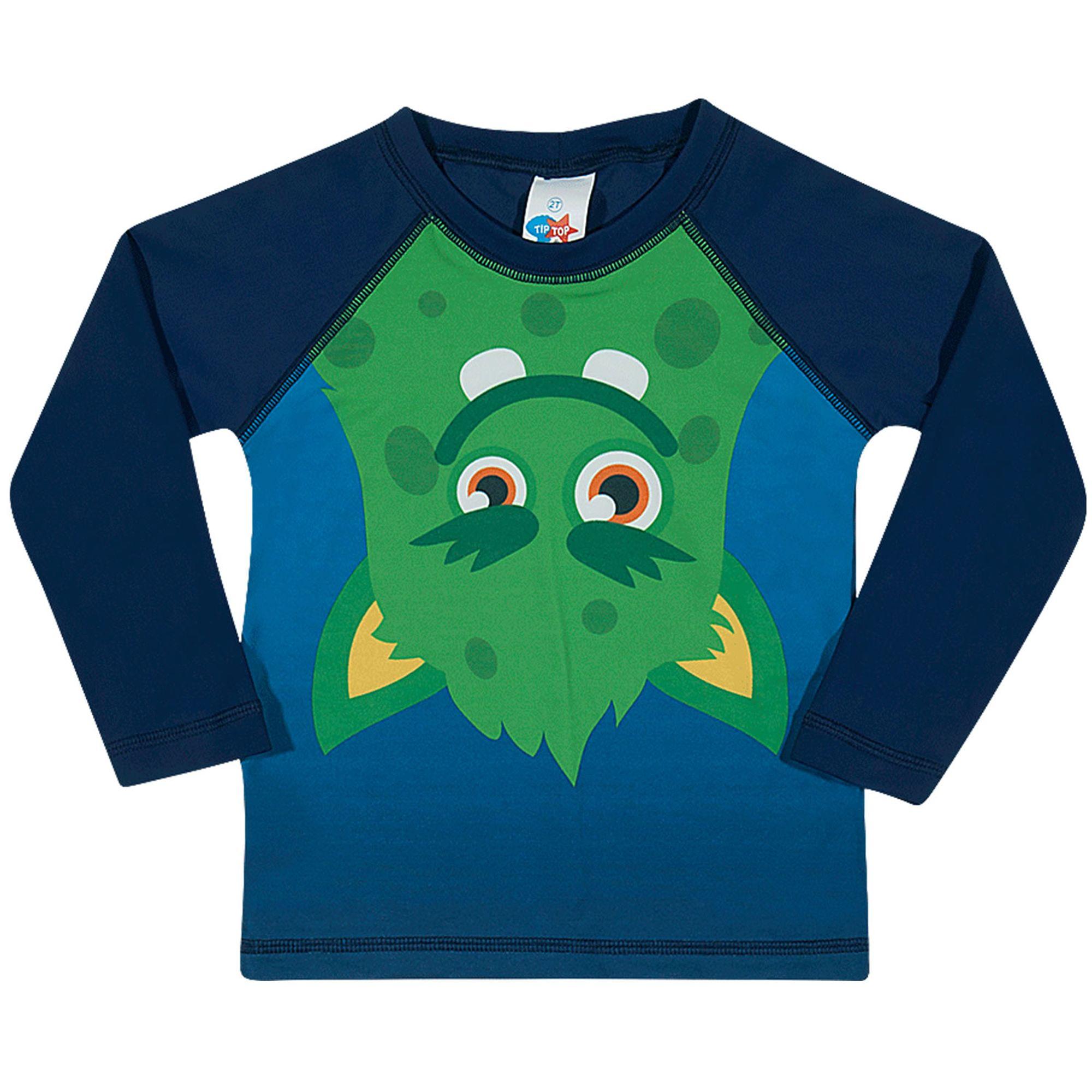 Camiseta Infantil Proteção Solar Manga Longa Azul Monstro Verde Tip Top -  EcaMeleca 442ae6f51d1