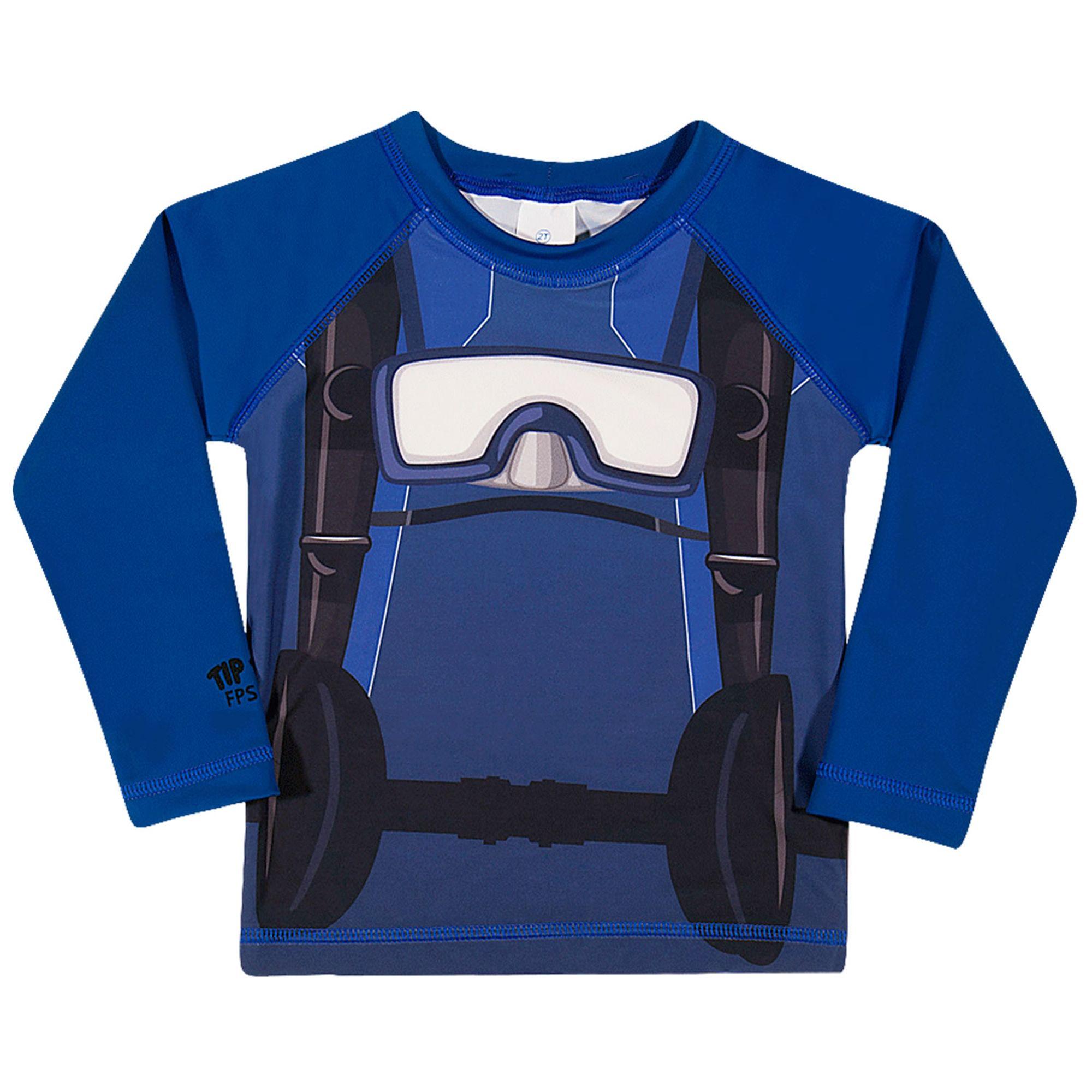 3af9ccb77 Camiseta Infantil Proteção Solar Mergulhador Manga Longa Azul Tip Top -  EcaMeleca