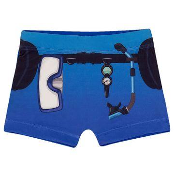 sunga-infantil-boxer-azul-mergulhador-scuba-diver-frente