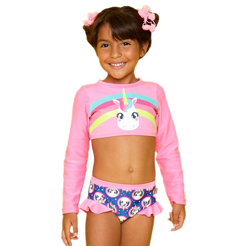 376691fce4 Biquíni Cropped Infantil Unicórnio Rosa Flúor c Azul Puket - EcaMeleca