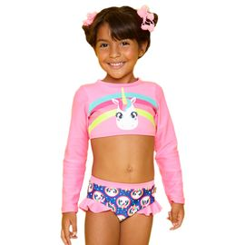 biquini-infantil-cropped-unicornio-rosa-fluor-e-azul-puket-frente