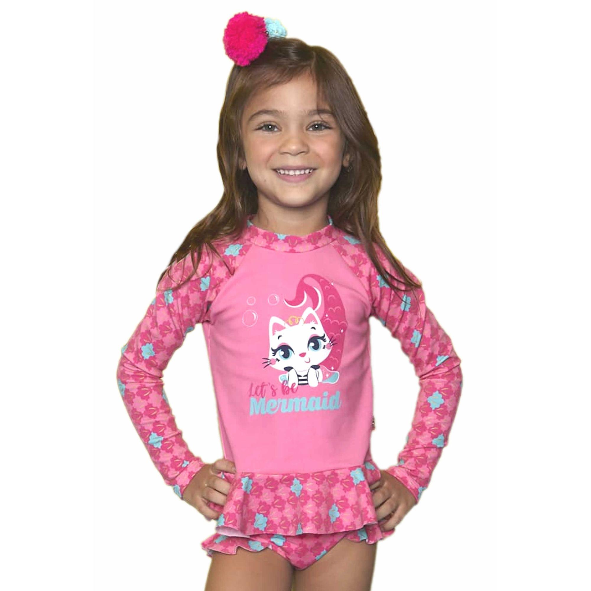 a6d1bbc28f7faf Conjunto Praia Menina Camiseta e Calcinha Gata Sereia Pink Puket ...