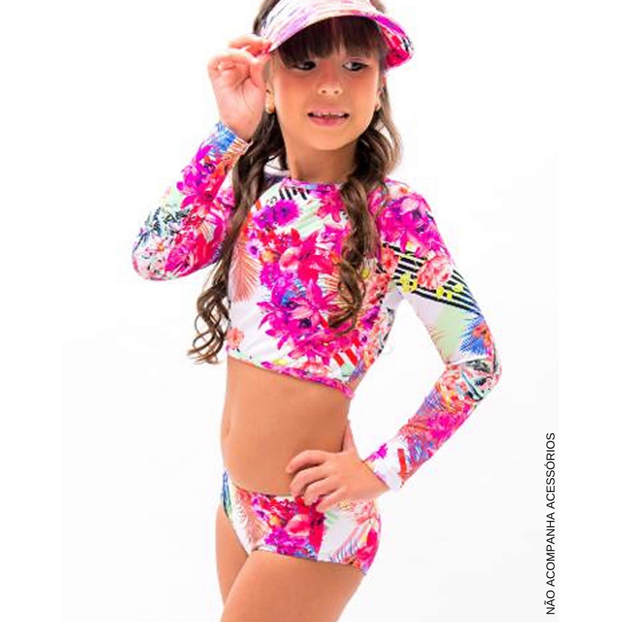 7cd43f9d1c37 Moda Praia Infantil Biquíni Cropped Flores Pink e Decote Costas - EcaMeleca