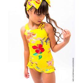 b1fcc8396 Maiô Infantil Amarelo Flores Babadinho Perna e Decote Costas