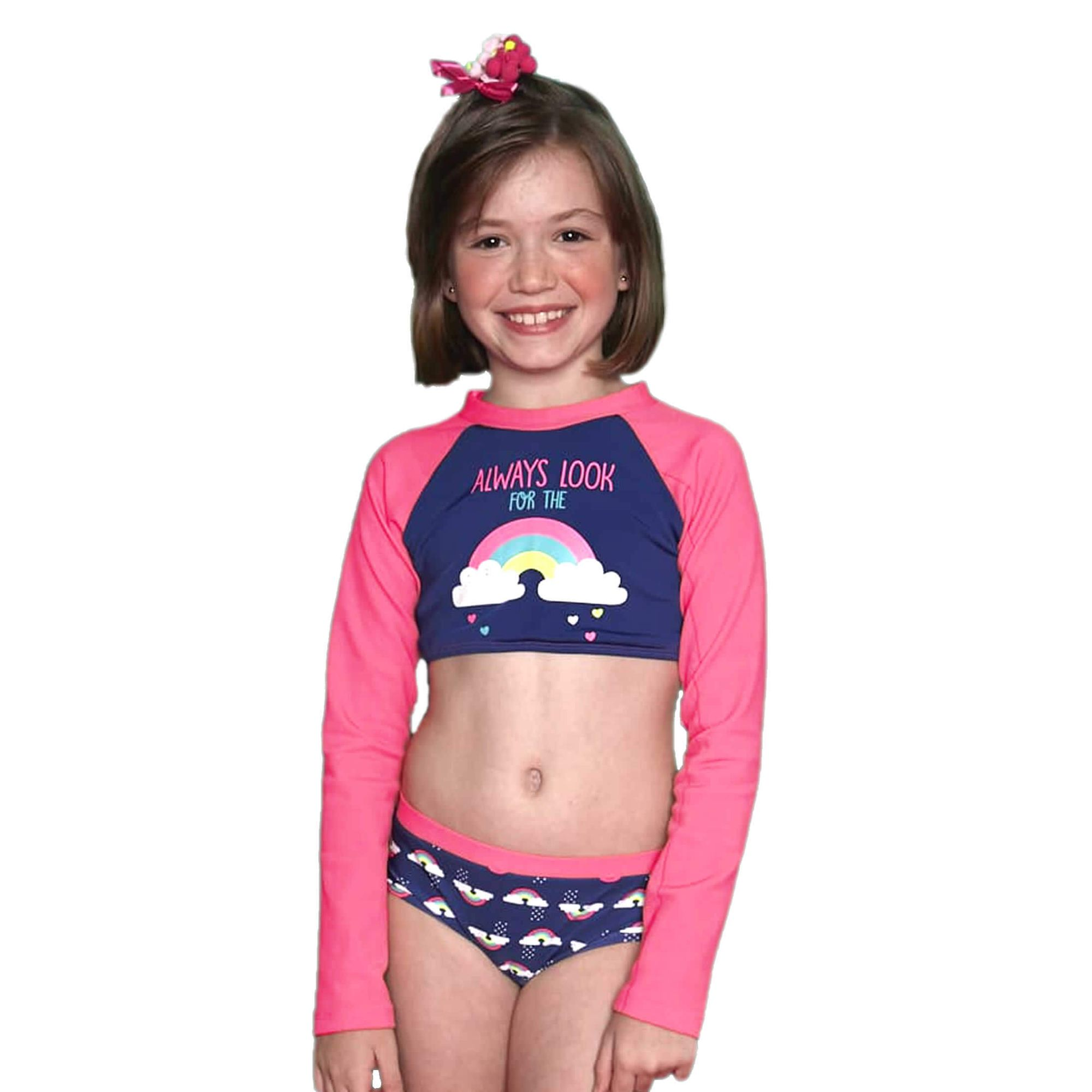 biquini-infantil-cropped-arco-iris-azul-marinho-e-mangas-rosa-fluor