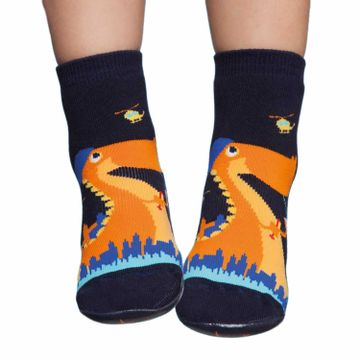 meia-infantil-pansock-azul-marinho-dino-laranja-
