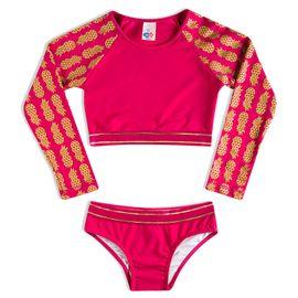 biquini-infantil-cropped-pink-com-dourado-tropical-tip-top-frente