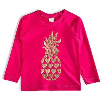 camiseta-infantil-protecao-solar-manga-longa-pink-abacaxi-dourado